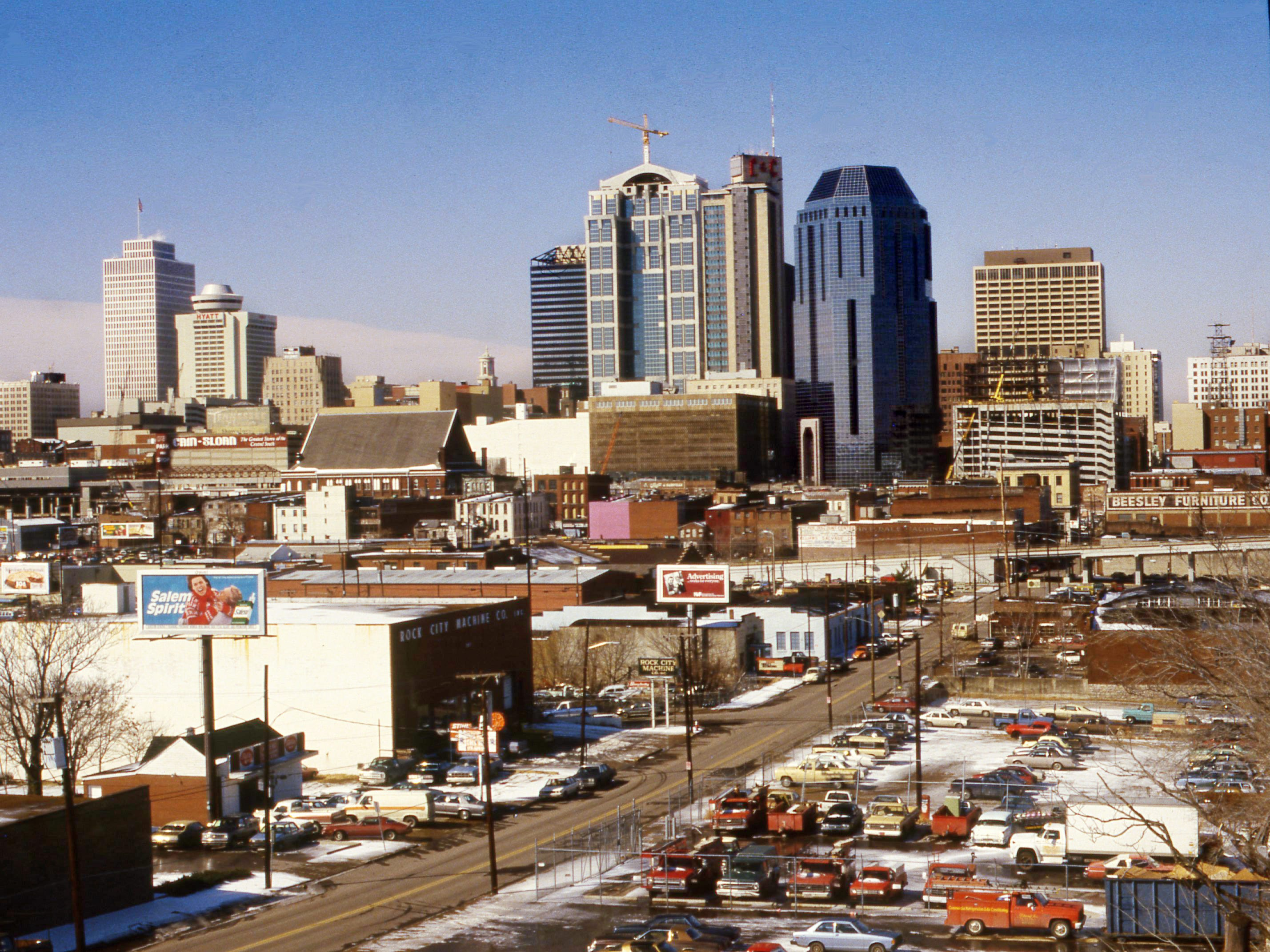 A view of downtown Nashville skyline on a very cold day Feb. 13, 1986.
