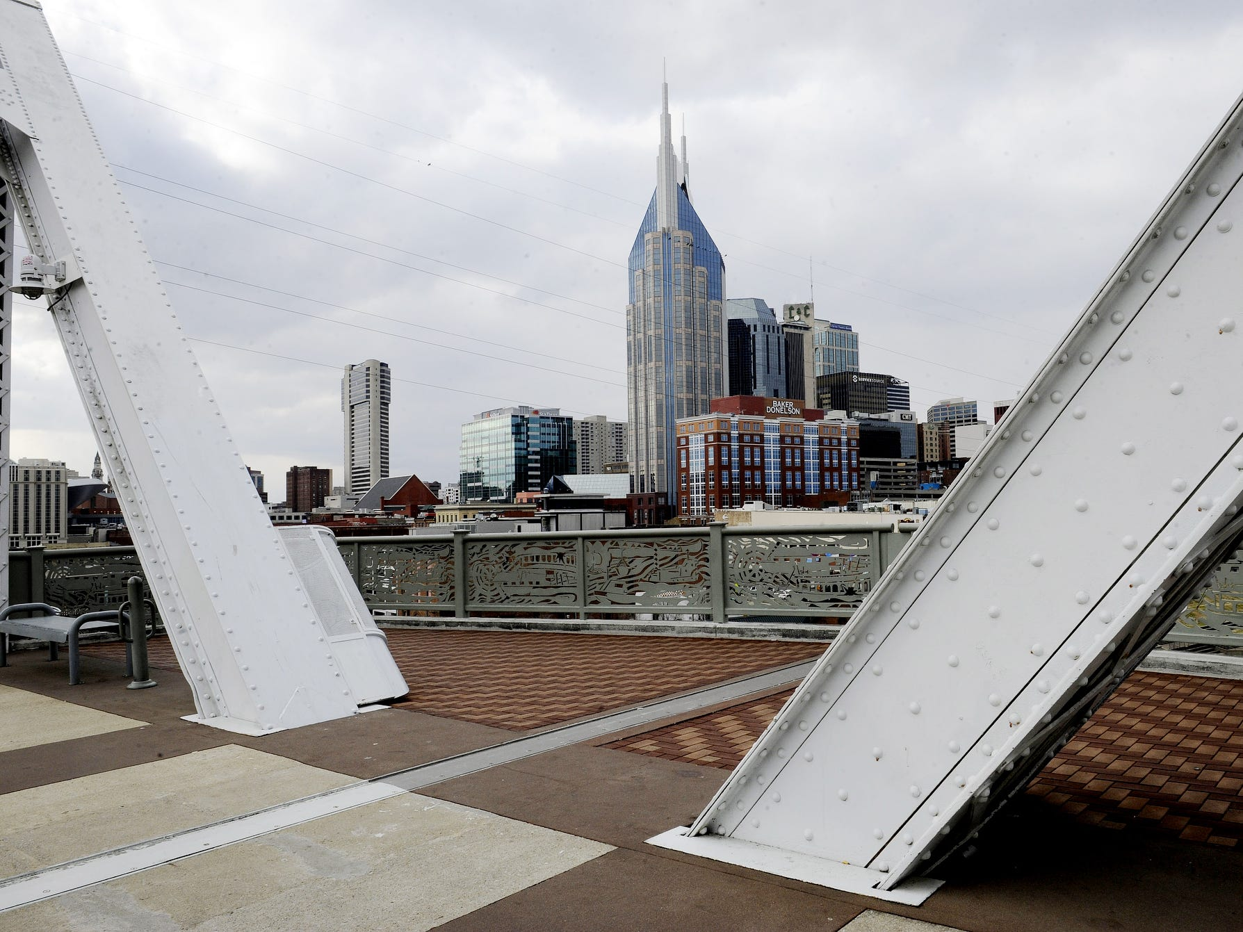 Beams of the Shelby Street Bridge frame the Nashville skyline on Jan. 15, 2014.