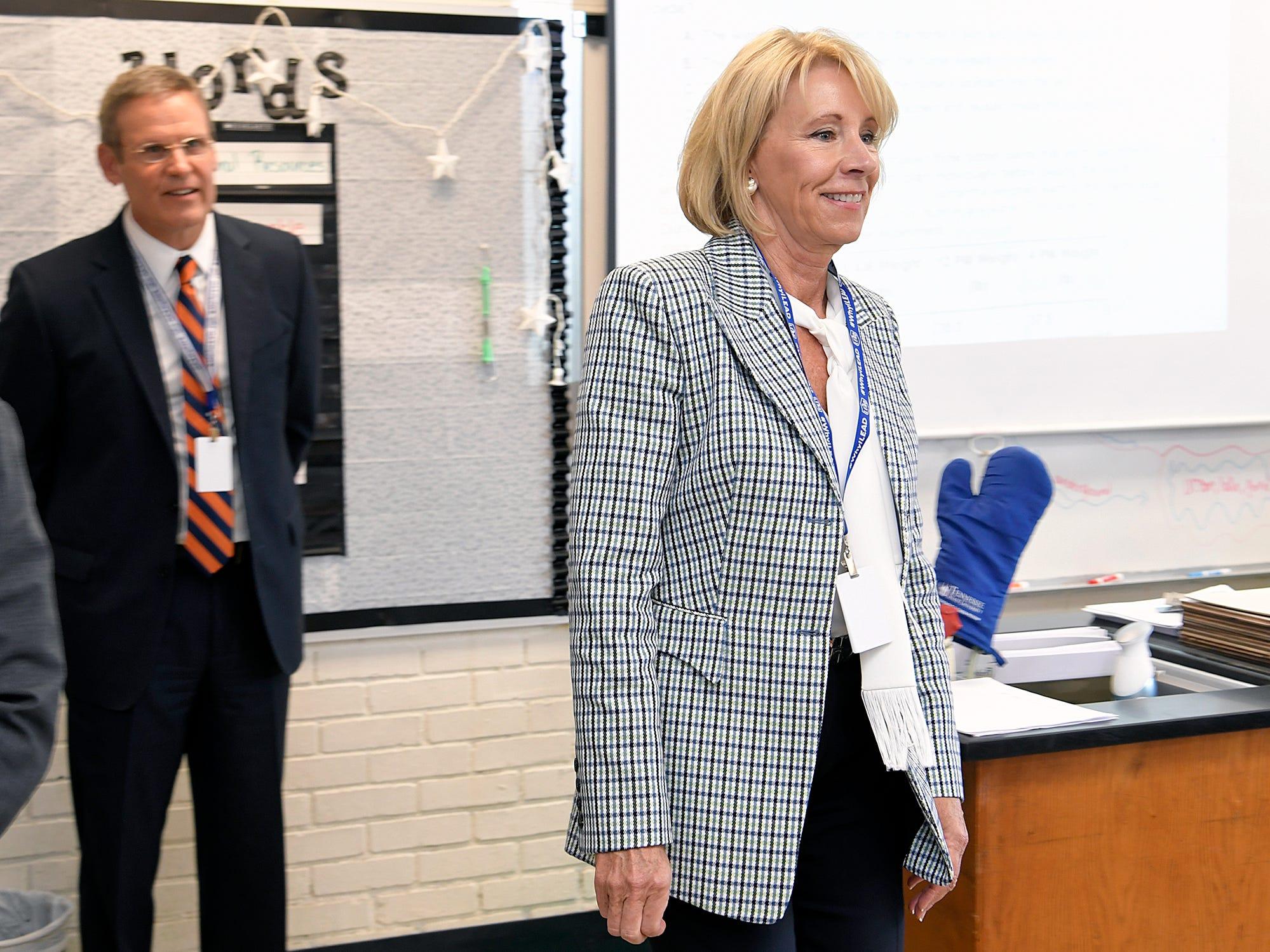 Education Secretary Betsy DeVos and Gov. Bill Lee tour LEAD Cameron Middle School Nashville on Monday, April 1, 2019.