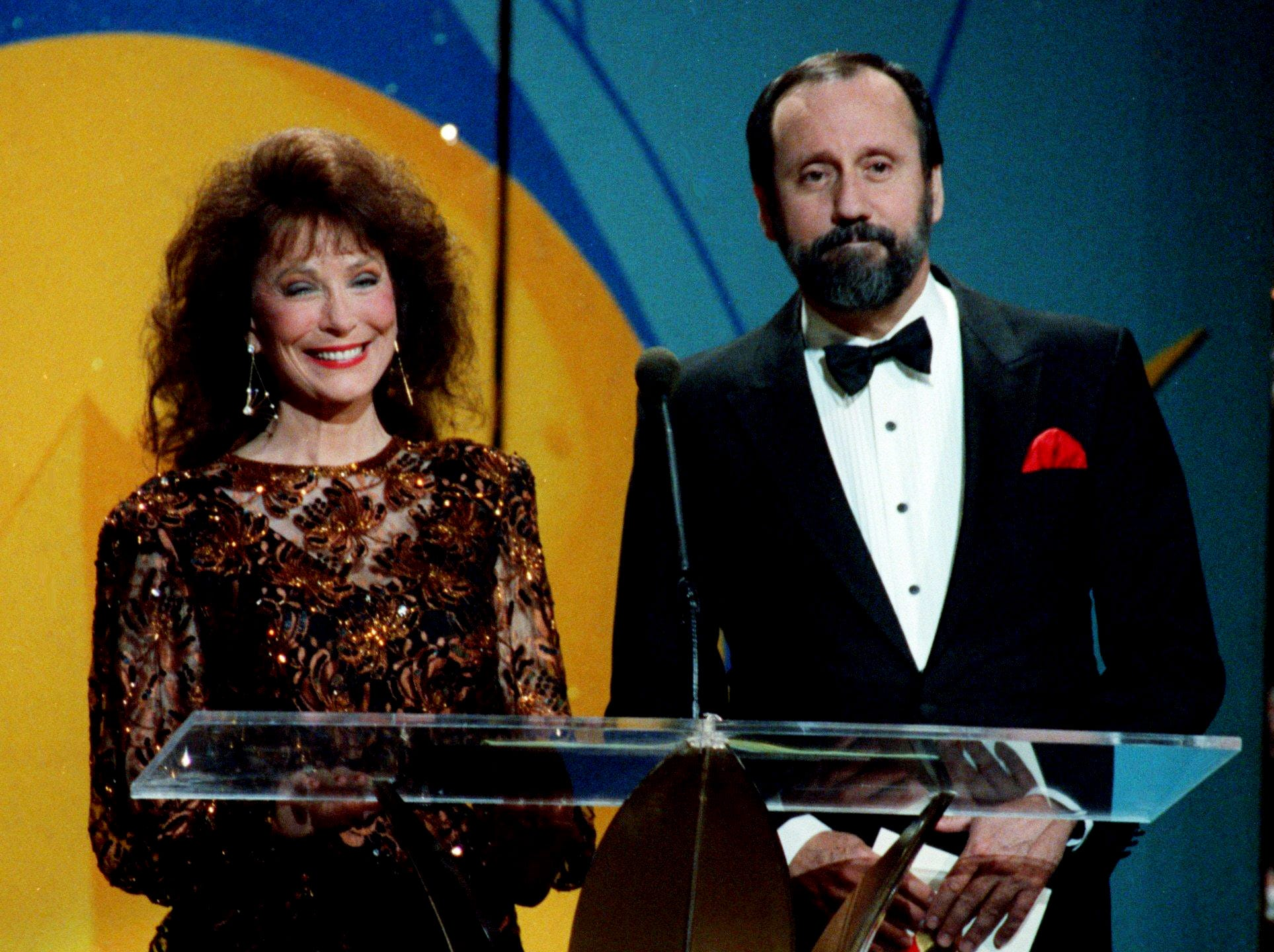 Country music legend Loretta Lynn, left, and comedian Ray Stevens were presenters at the fan-voted TNN/Music City News Country Awards show at the Grand Ole Opry House June 10, 1991. Stevens won his fifth straight Comedian of the Year honor.