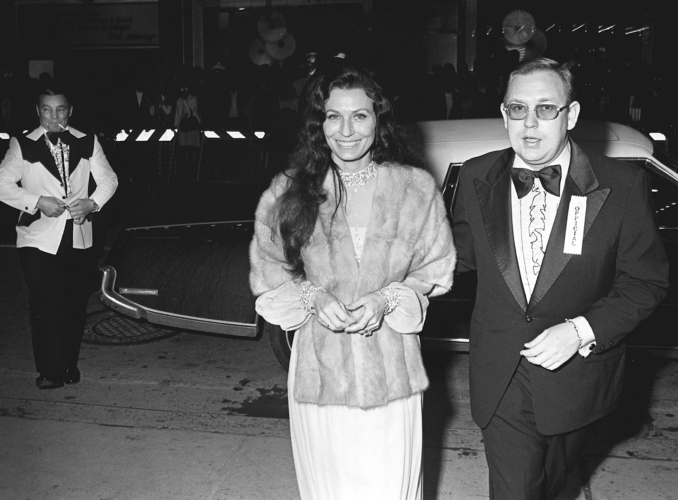 Loretta Lynn, center, arrives at the Tennessee Theater for the 15th Grammy Awards show in Nashville on  March 3, 1973. The show, which highlighted the 11 winners, was televised on CBS.