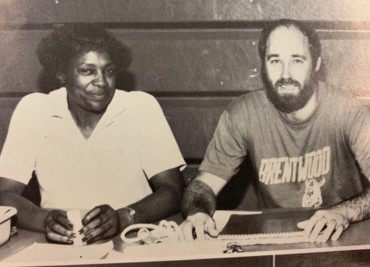 "Liz Cleveland and David ""Mickey"" Johnson in 1988 at Brentwood Middle School."