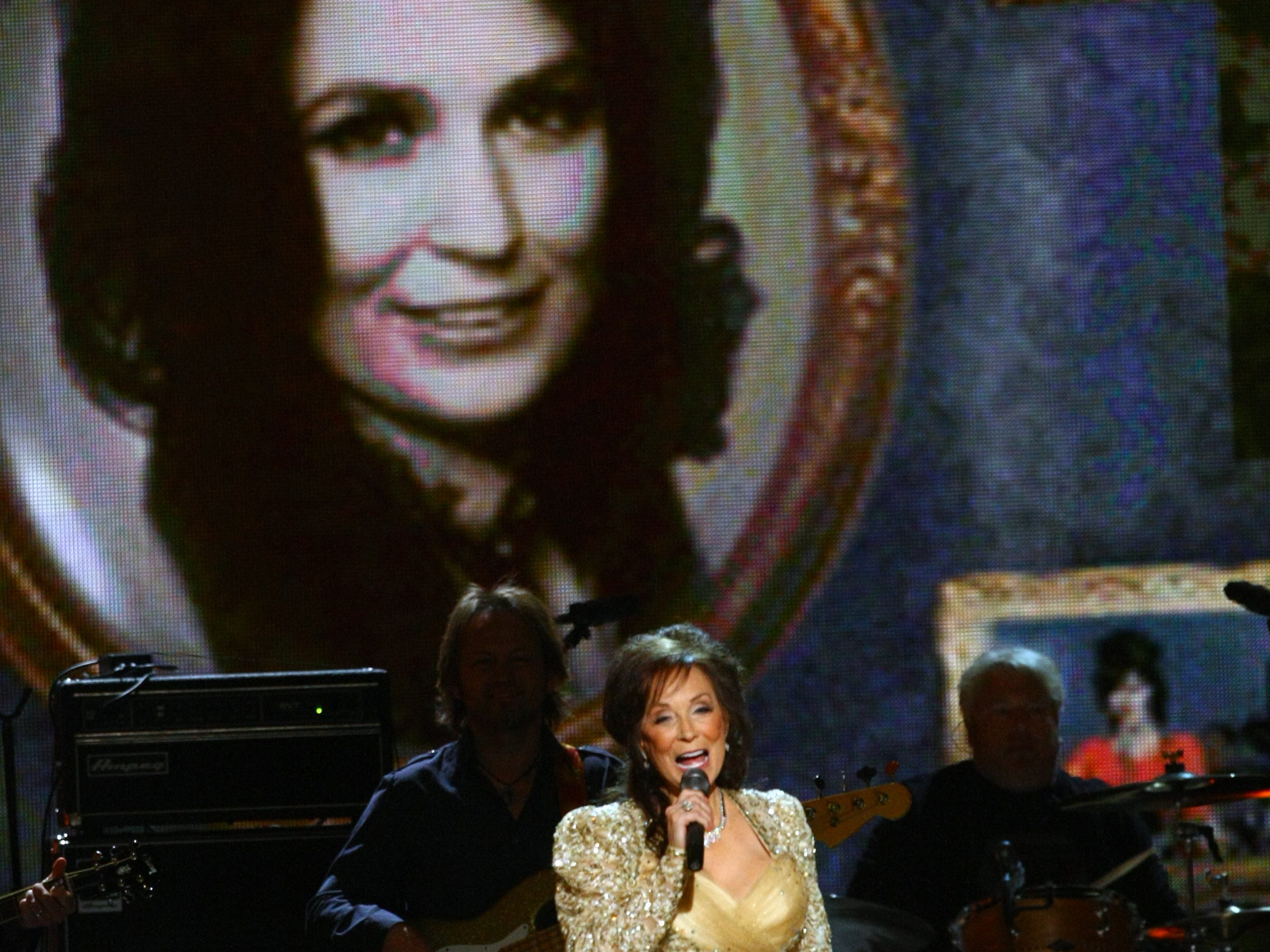 "Loretta Lynn sings ""Coal Miner's Daughter"" at the 44th annual CMA Awards show Nov. 10th, 2010, at Bridgestone Arena."