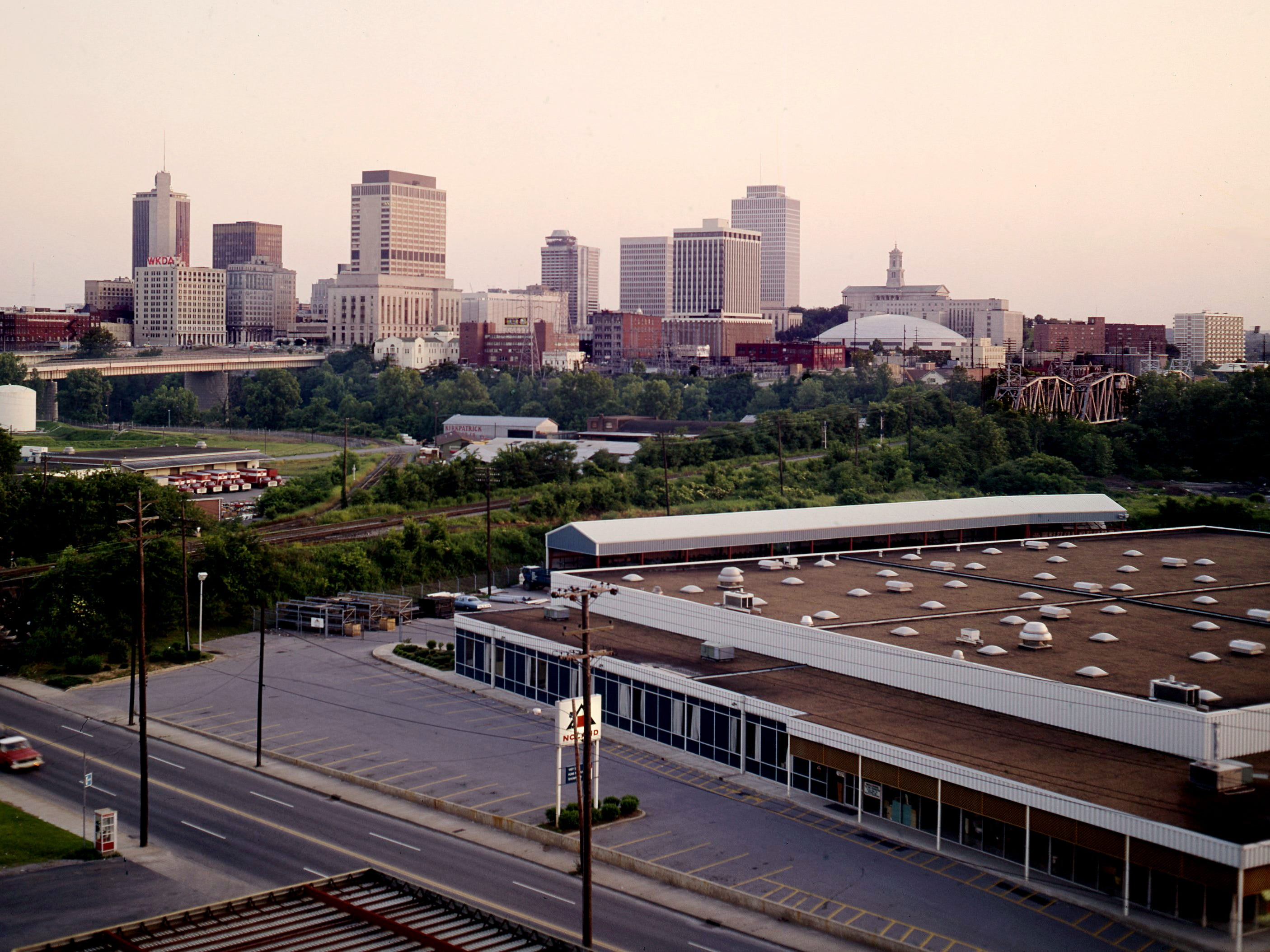 A view of the skyline of Nashville on the early morning of June 1, 1975.