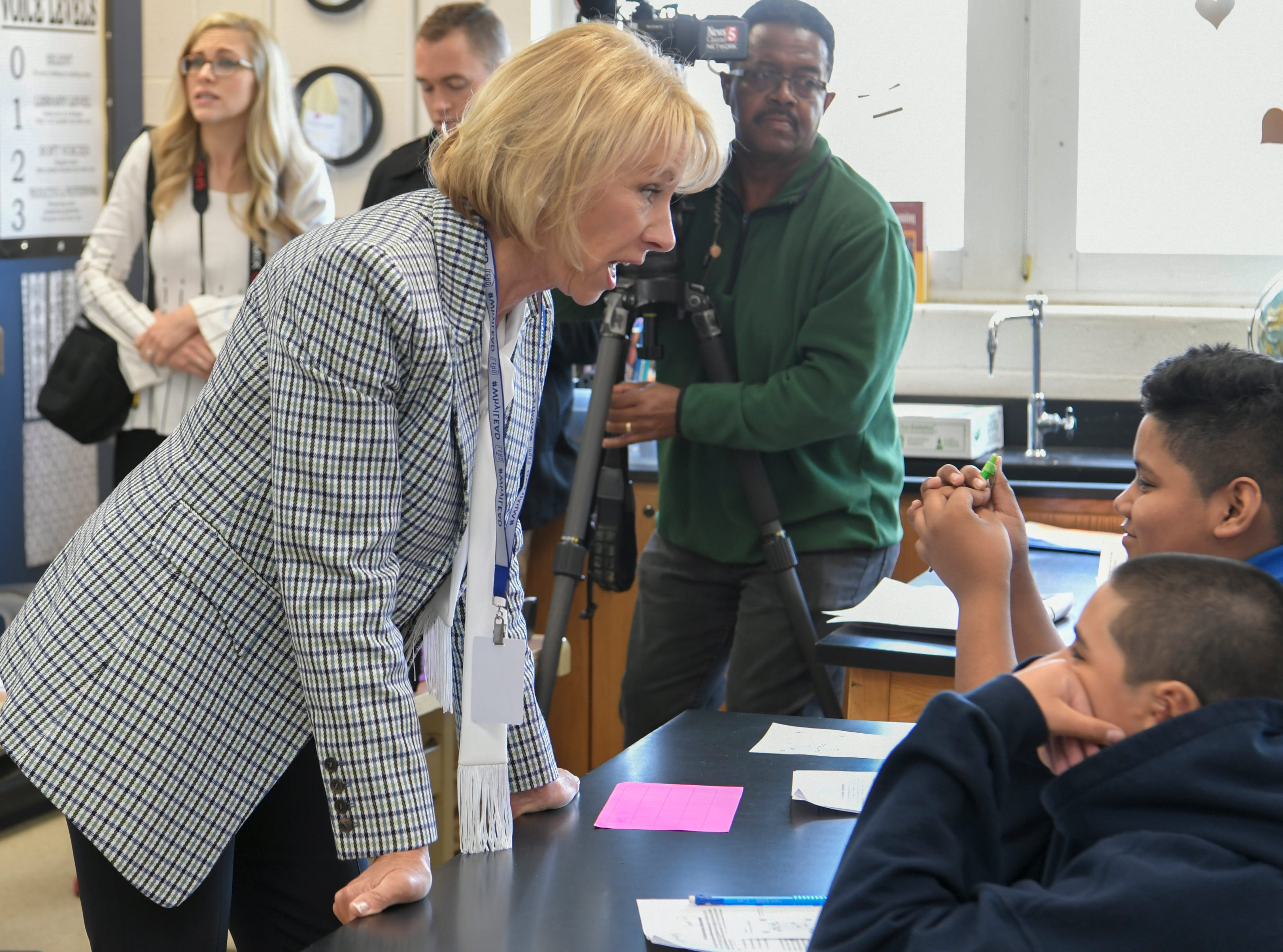 Education Secretary Betsy DeVos and Gov. Bill Lee visit LEAD Cameron, a charter middle school in Nashville, on Monday, April 1, 2019. DeVos and Lee participated in a roundtable discussion about education.