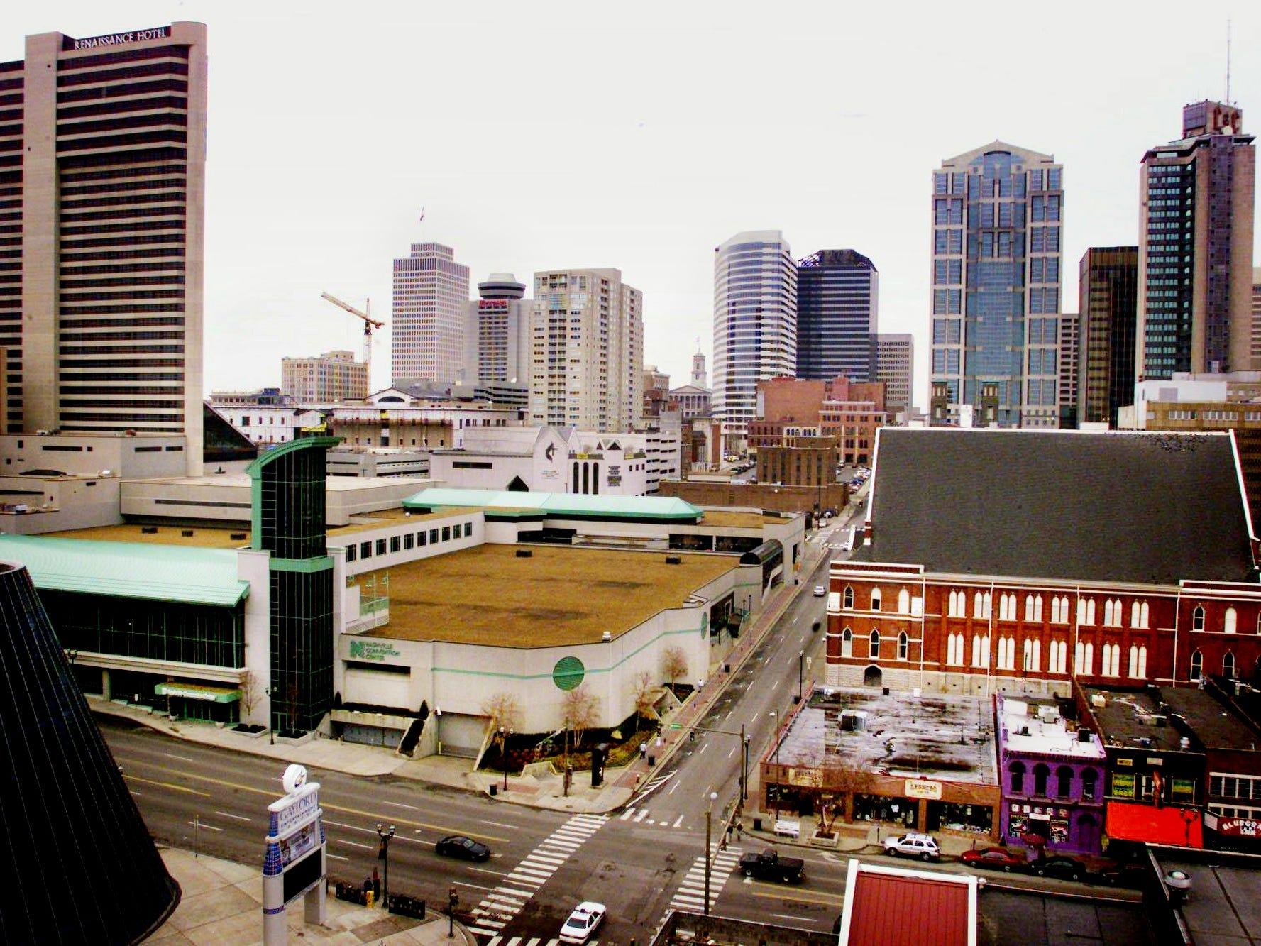 The Nashville Convention Center, shown here Jan. 17, 2001 with Nashville skyline in the background, is in the heart of the tourist area. The center sits across from the Arena and the Ryman, right.