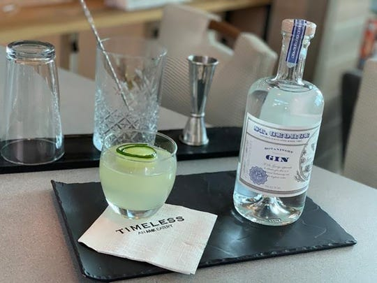 The Healer, a new cocktail at Timeless in Naples, features St. George Gin, St. Germain, lime juice, fresh cucumber and homemade ginger syrup.