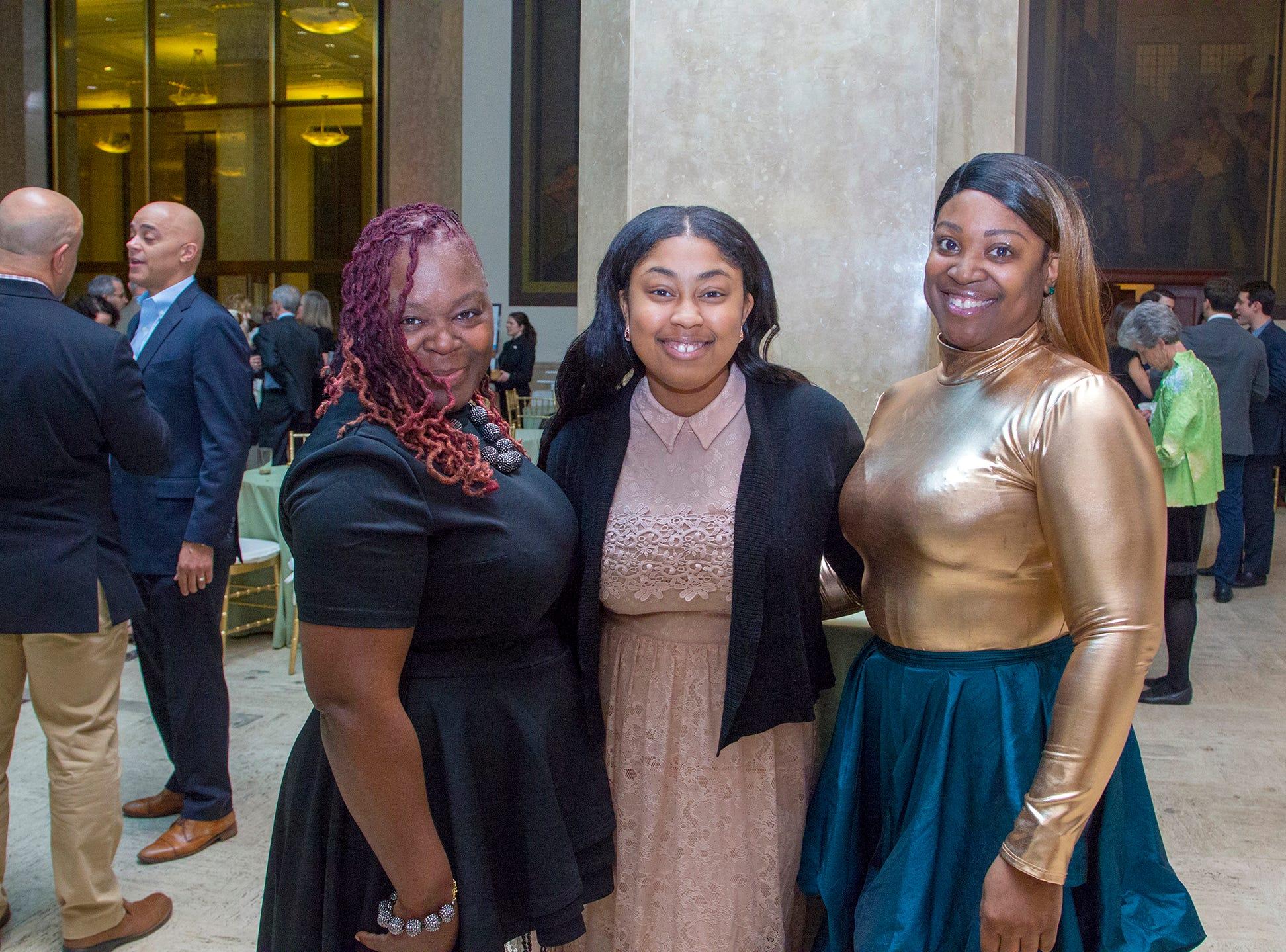 Keisha Archibald, Danielle Brathwaite, Athena Davis-Shaw. Philip's Education Partners host The Dream Maker 30th anniversary gala at The Mezzanine in Newark 3/29/2019.