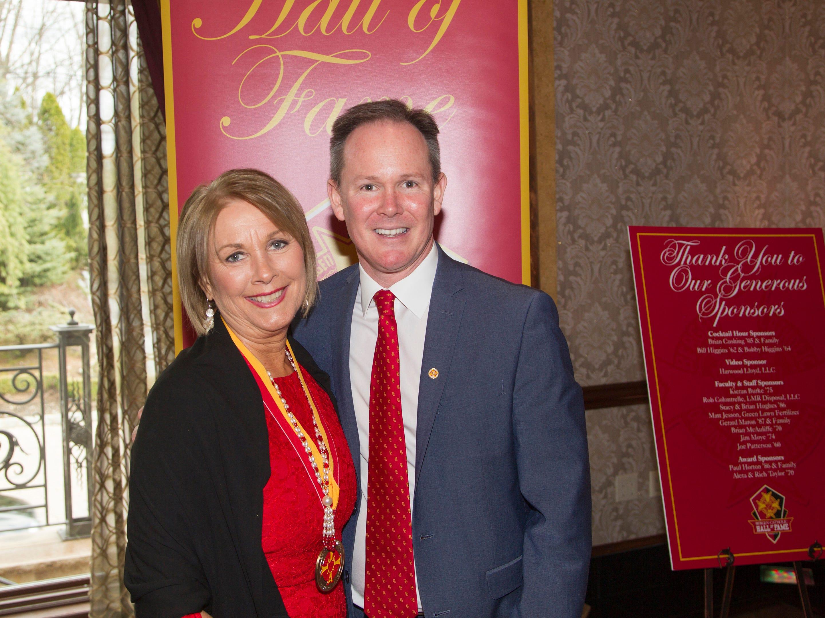 Marge Quinn, President  Dr. Brian Mahoney. Bergen Catholic High School Hall of Fame Dinner at Seasons in Washington Twp. 03/31/2019