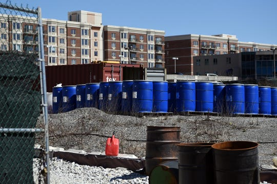 The Quanta Superfund site on River Rd. in Edgewater on April 1, 2019. City Place is visible in the background.