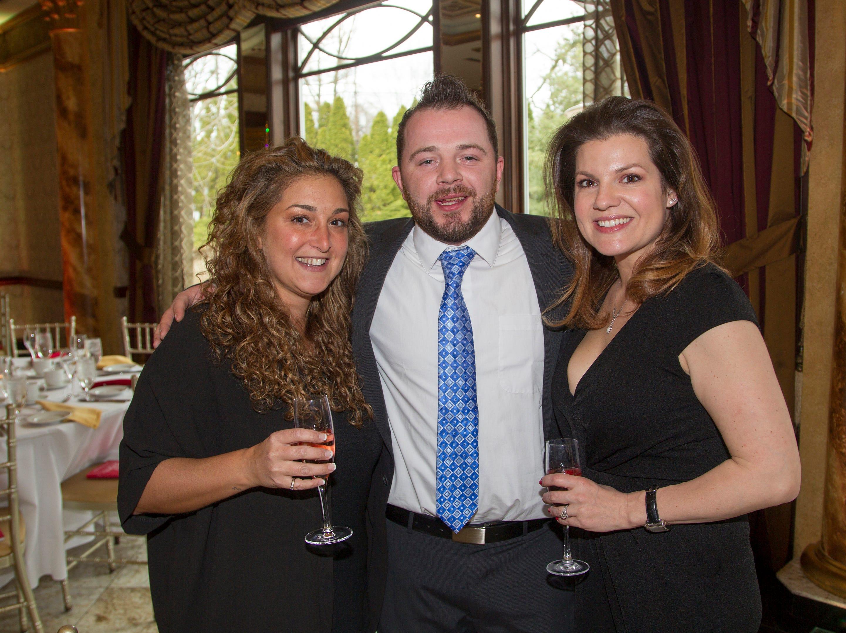 Kari Ventirini, David Falkenstern, Tara LaFontant. Bergen Catholic High School Hall of Fame Dinner at Seasons in Washington Twp. 03/31/2019