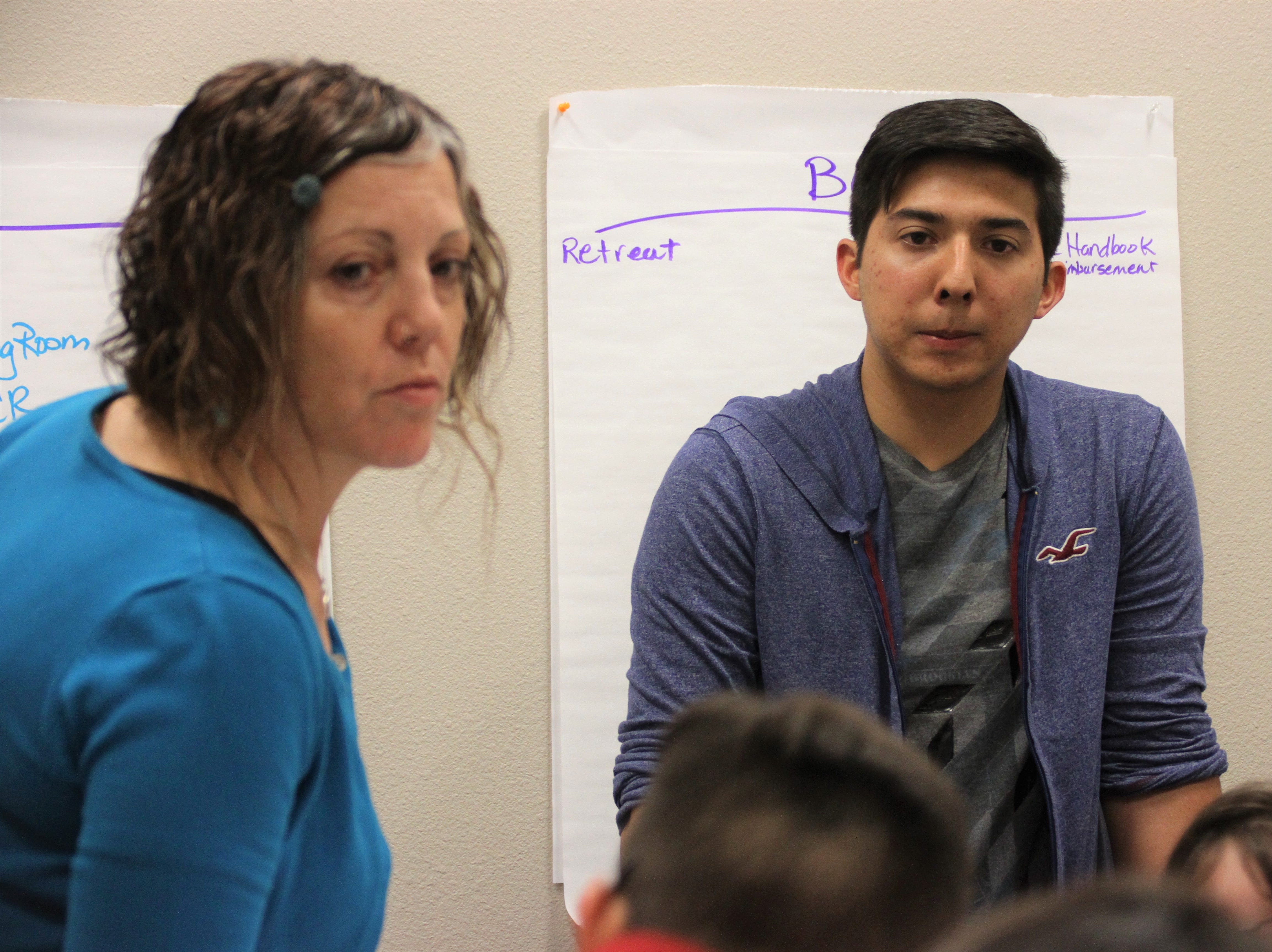 From left, Stacey Duncan and attendee/Deming High School student Jorge Mesta, 18.