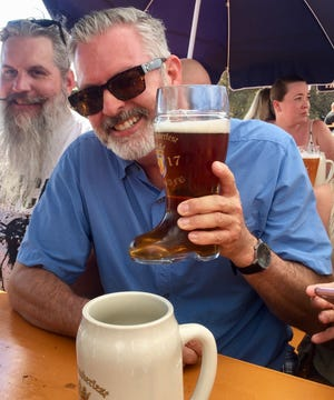 Dave Allan, head brewer at Pecan Grill and Brewery in Las Cruces, is pictured during Oktoberfest at Holloman Air Force Base in 2017.