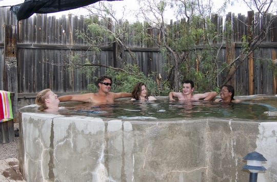 Faywood Hot Springs has 13 rock and concrete mineral water soaking pools and two hot tubs. The secluded outdoor pools range from 100 to 110 degrees.