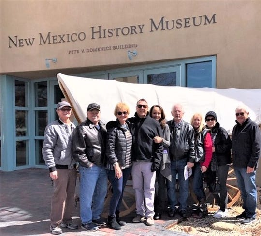 Visiting the New Mexico History Museum were from left, Bill Charrett, Roger Paris, Debbie Coryell, Jeff Johnson, Linda Johnson, Lee Arnone, Paulette Arnone, Anne Charrett and John James.
