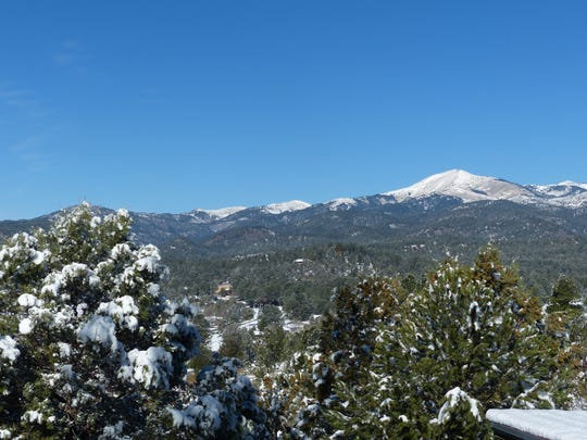 Sierra Blanca Peak received a dusting of about 2 inches, but with the mid-day temperature forecast in the 50s, probably will lost most of the new fall.