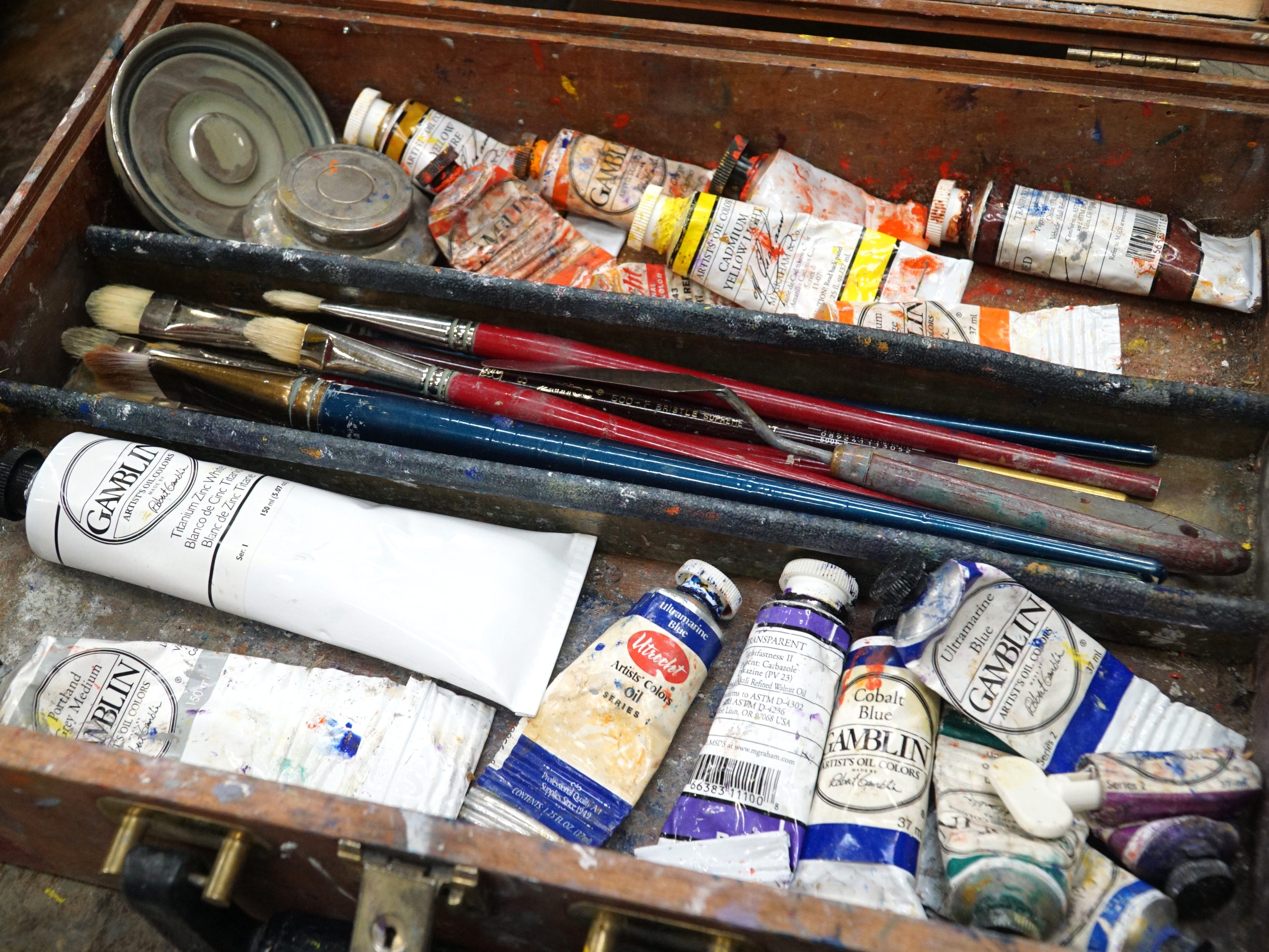 An artist's oil painting box at Milford's Suzanne Haskew Arts Center.