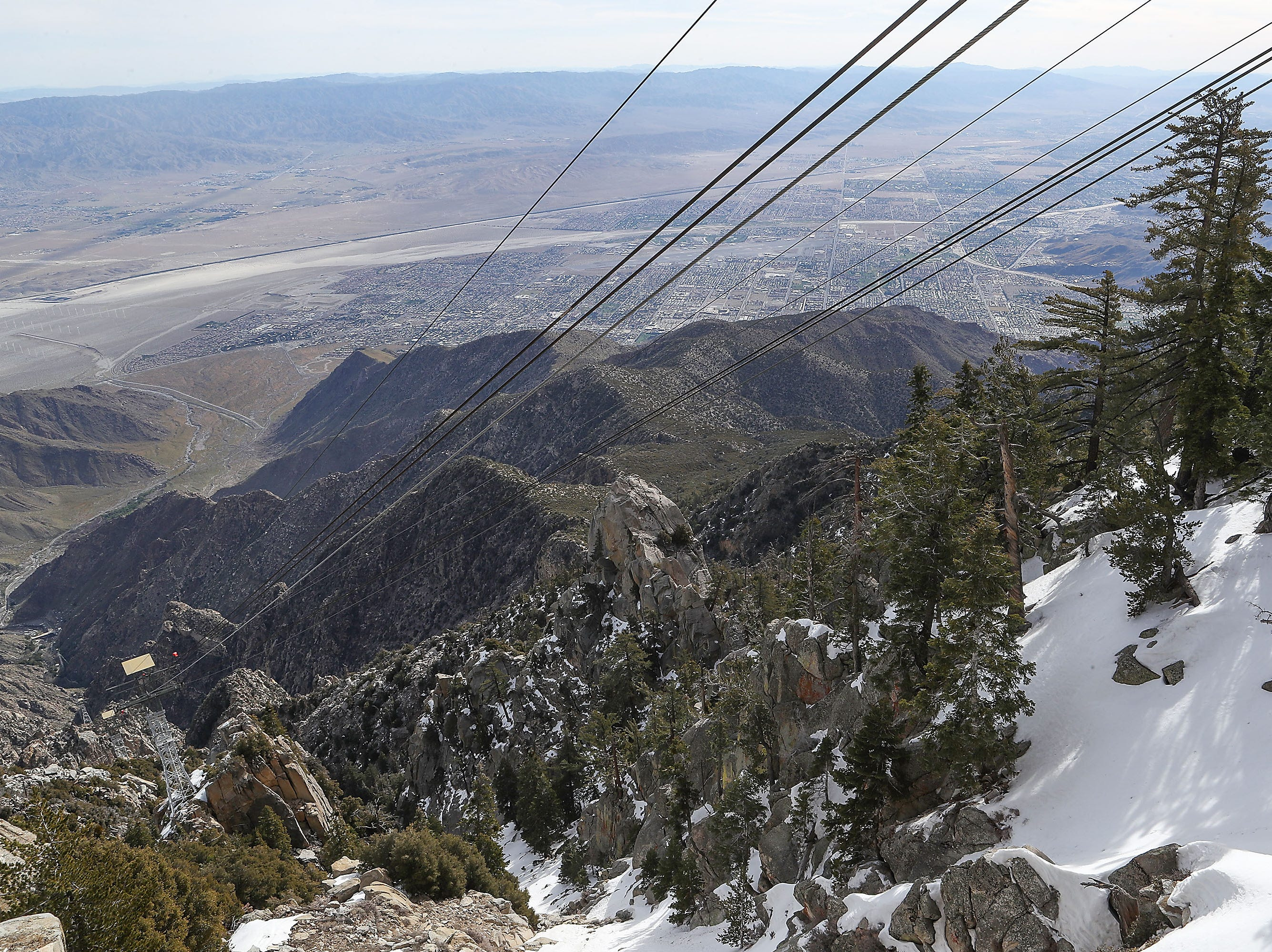 The top of Mount San Jacinto still has snow at the Palm Springs Aerial Tramway, April 1, 2019.