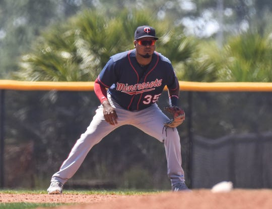 Blue Wahoos infielder Luis Arraez, shown in March 22 spring training game in Fort Myers, was among 25 players announced Monday to be on the season-opening roster April 4 in Mobile.