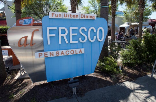 The outdoor dining spot al Fresco in downtown Pensacola only has one remaining food vendor on Monday, April 1, 2019.