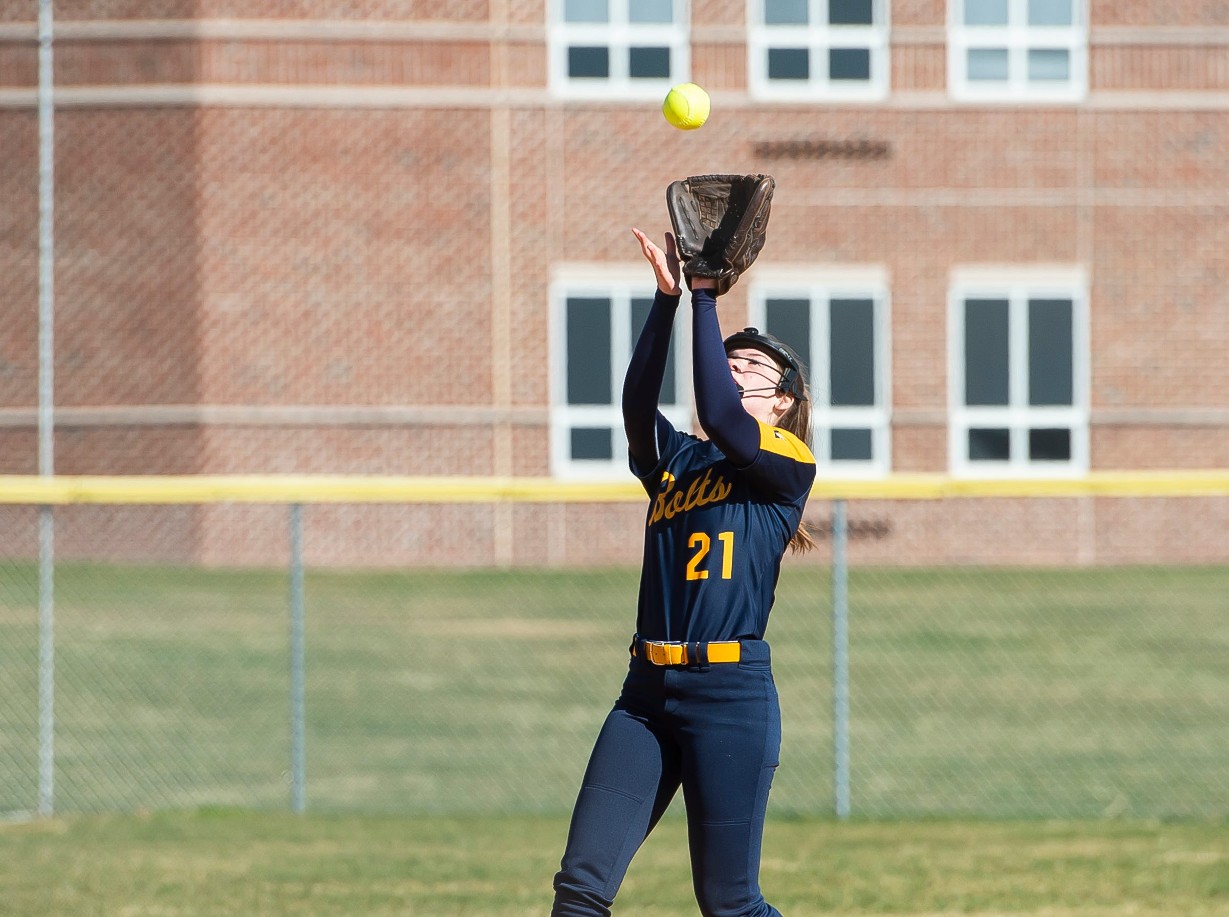 Littlestown's Kacie Frock catches an infield fly to record an out during a YAIAA softball game against Gettysburg on Monday, April 1, 2019. The Bolts won 10-4.
