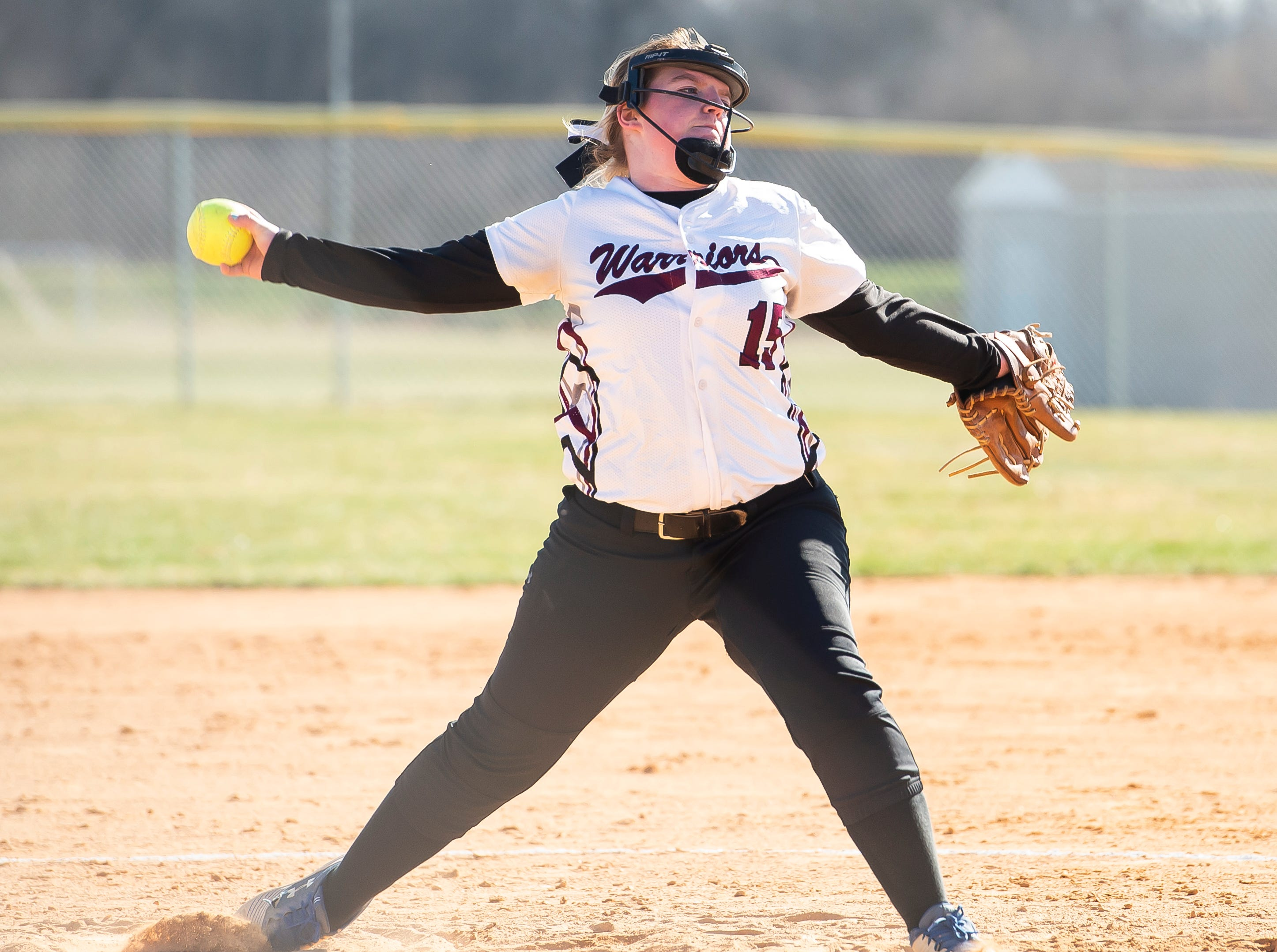Gettysburg starting pitcher Faith Boone throws to a Littlestown batter during a YAIAA softball game on Monday, April 1, 2019. The Bolts won 10-4.