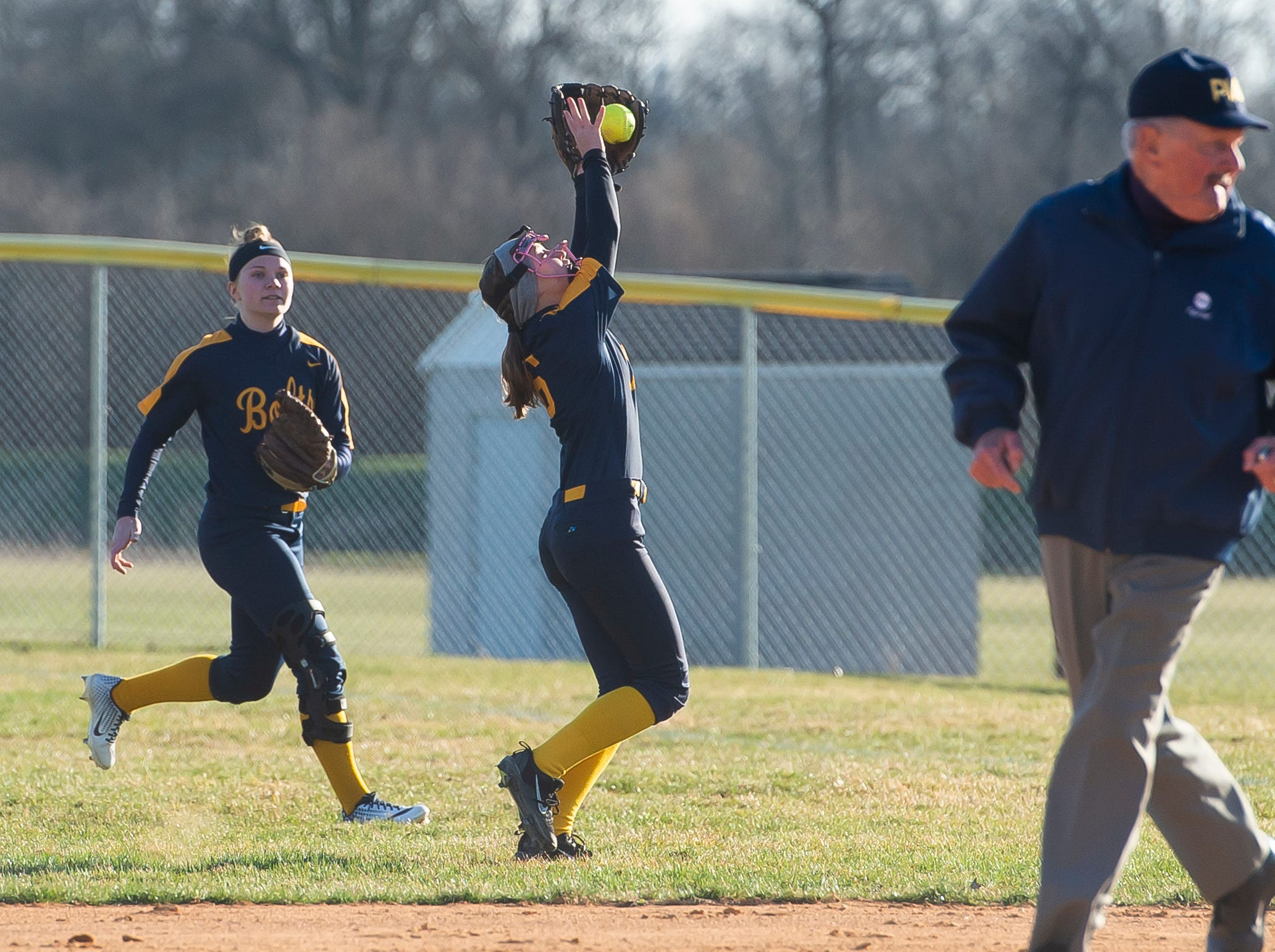 Littlestown's Carter Clabaugh bobbles the ball before securing a catch on a pop-up during a YAIAA softball game against Gettysburg on Monday, April 1, 2019. The Bolts won 10-4.