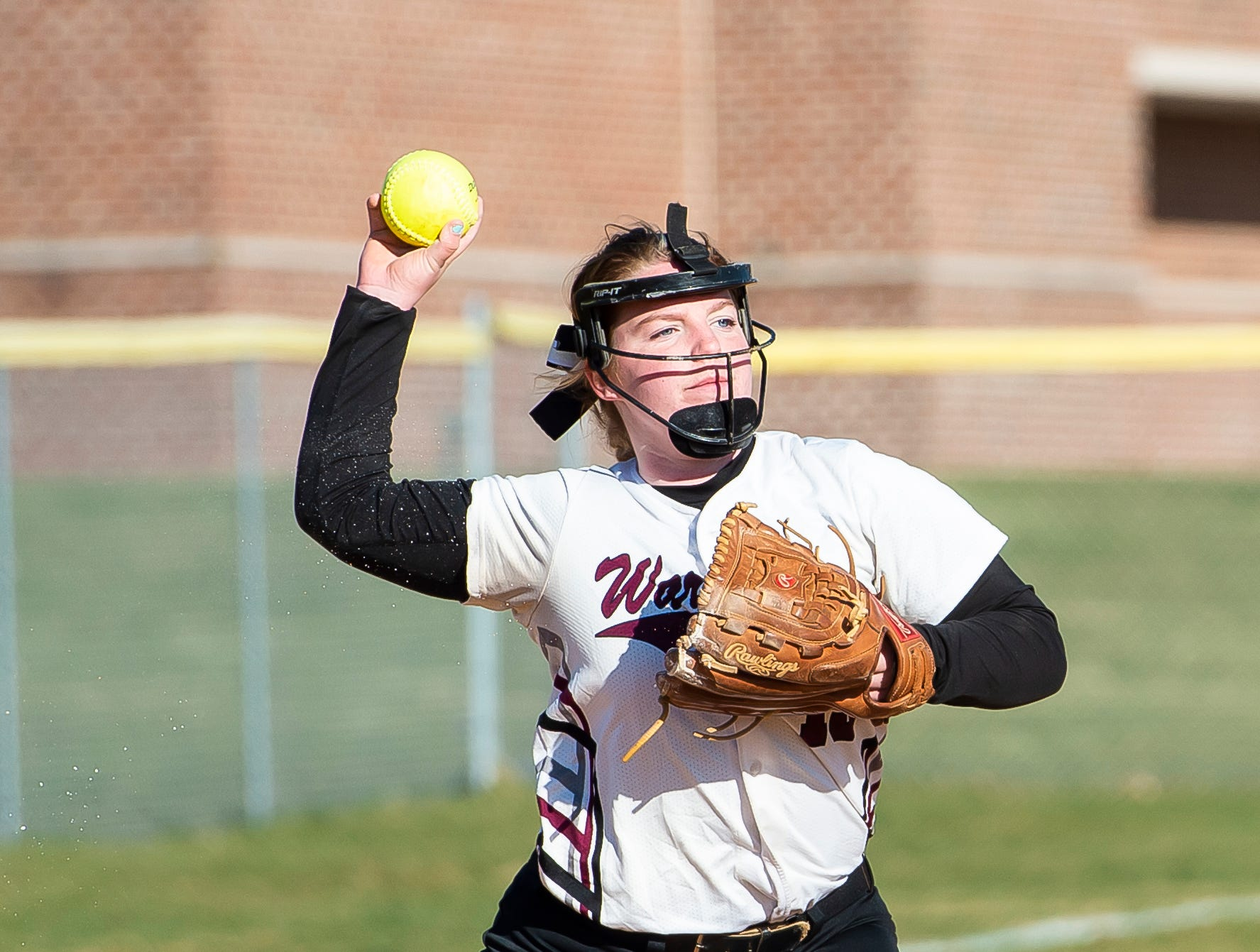Gettysburg Faith Boone throws the ball to first on a ground ball hit back to the mound during a YAIAA softball game against Littlestown on Monday, April 1, 2019. The Bolts won 10-4.