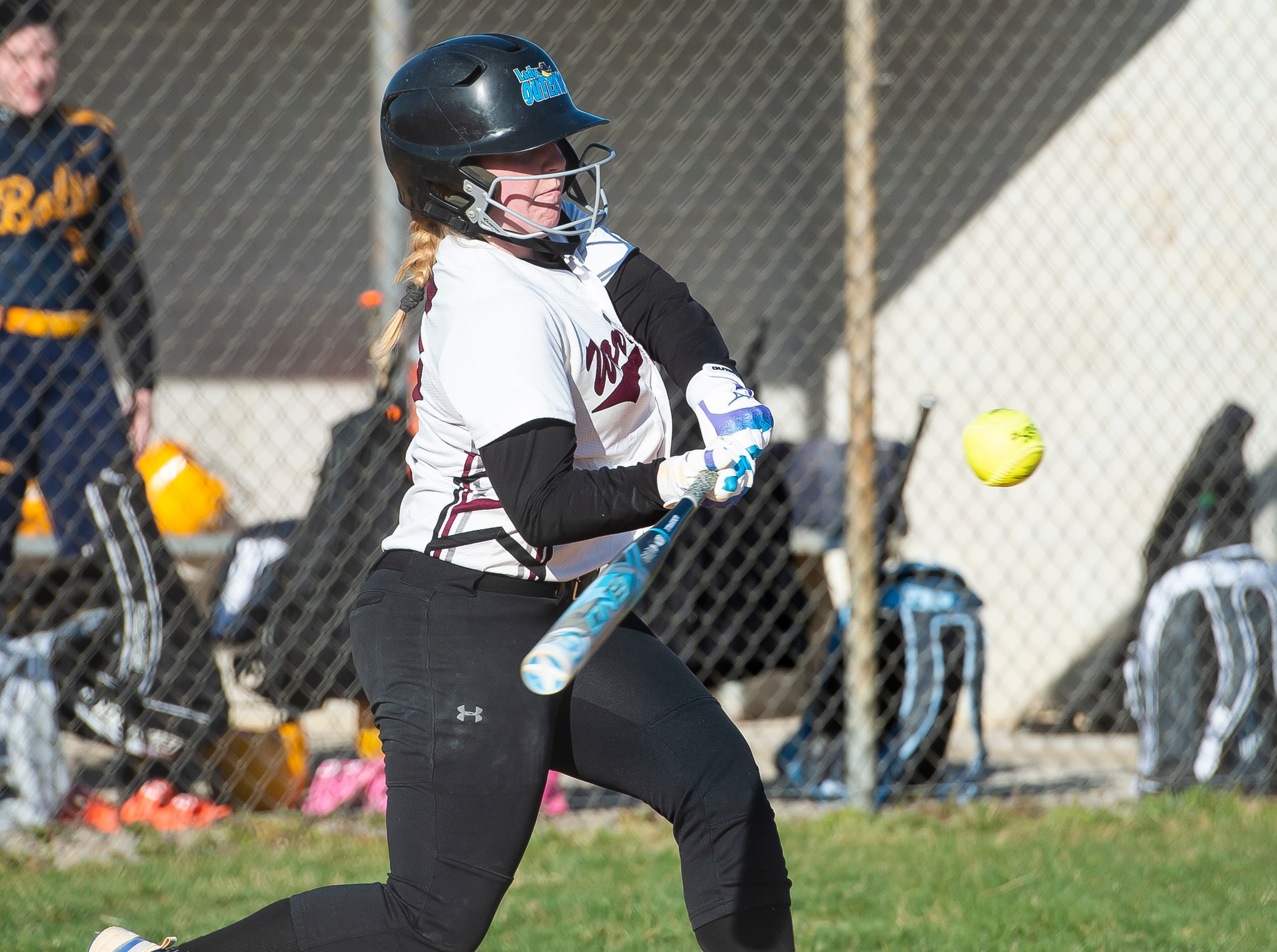 Gettysburg's Faith Boone swings on a pitch during a YAIAA softball game against Littlestown on Monday, April 1, 2019. The Warriors fell 10-4.