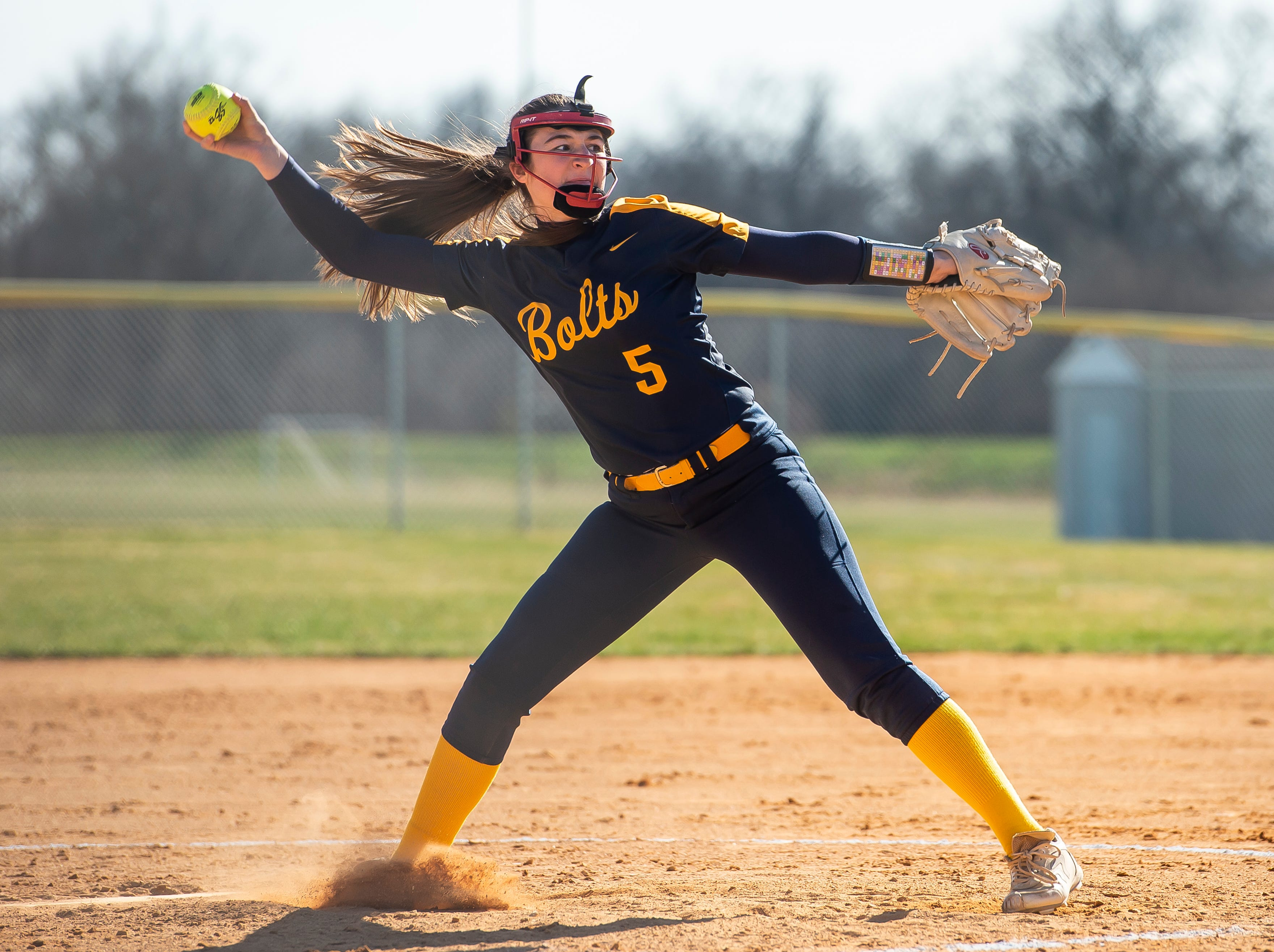 Littlestown starting pitcher Amaya Bowman throws to Gettysburg during a YAIAA softball game on Monday, April 1, 2019. The Bolts won 10-4.