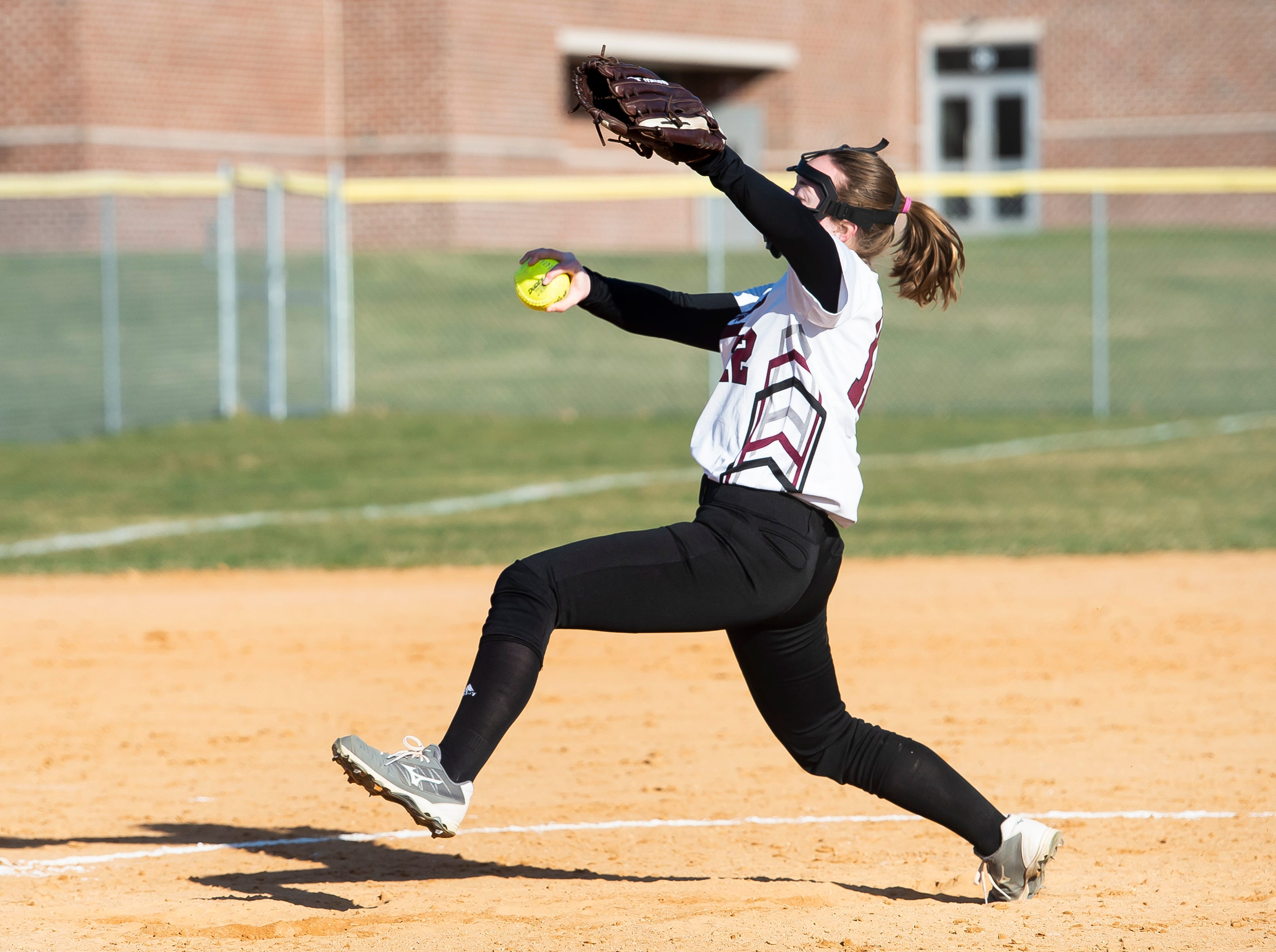 Gettysburg's Jenna Brasee pitches during a YAIAA softball game against Littlestown on Monday, April 1, 2019. The Warriors fell 10-4.