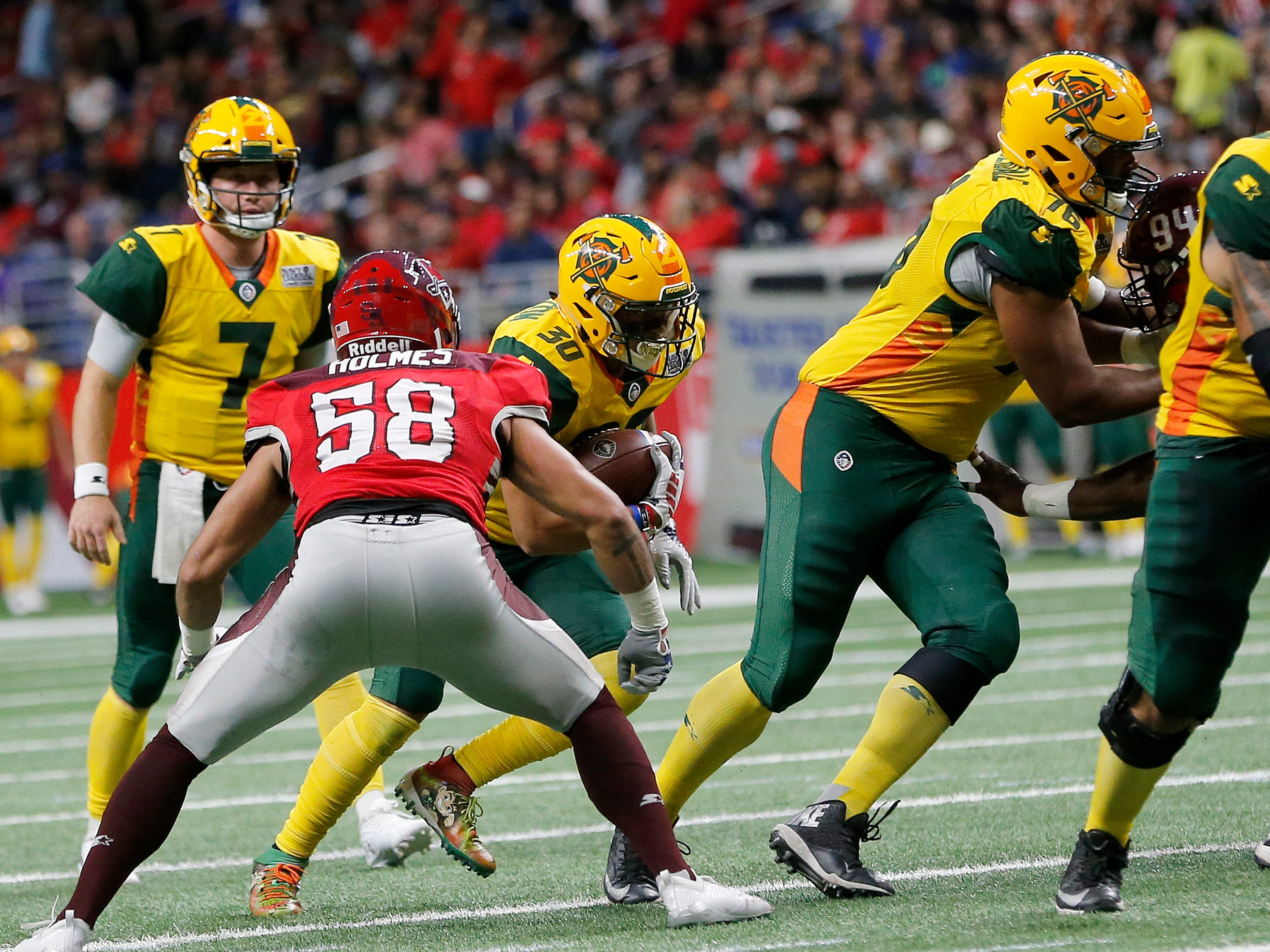 Arizona Hot Shots running back Justin Stockton (30) runs with the ball in the first half during an Arizona Hotshots at San Antonio Commanders AAF football game, Sunday, March 31, 2019, at the Alamodome in San Antonio.