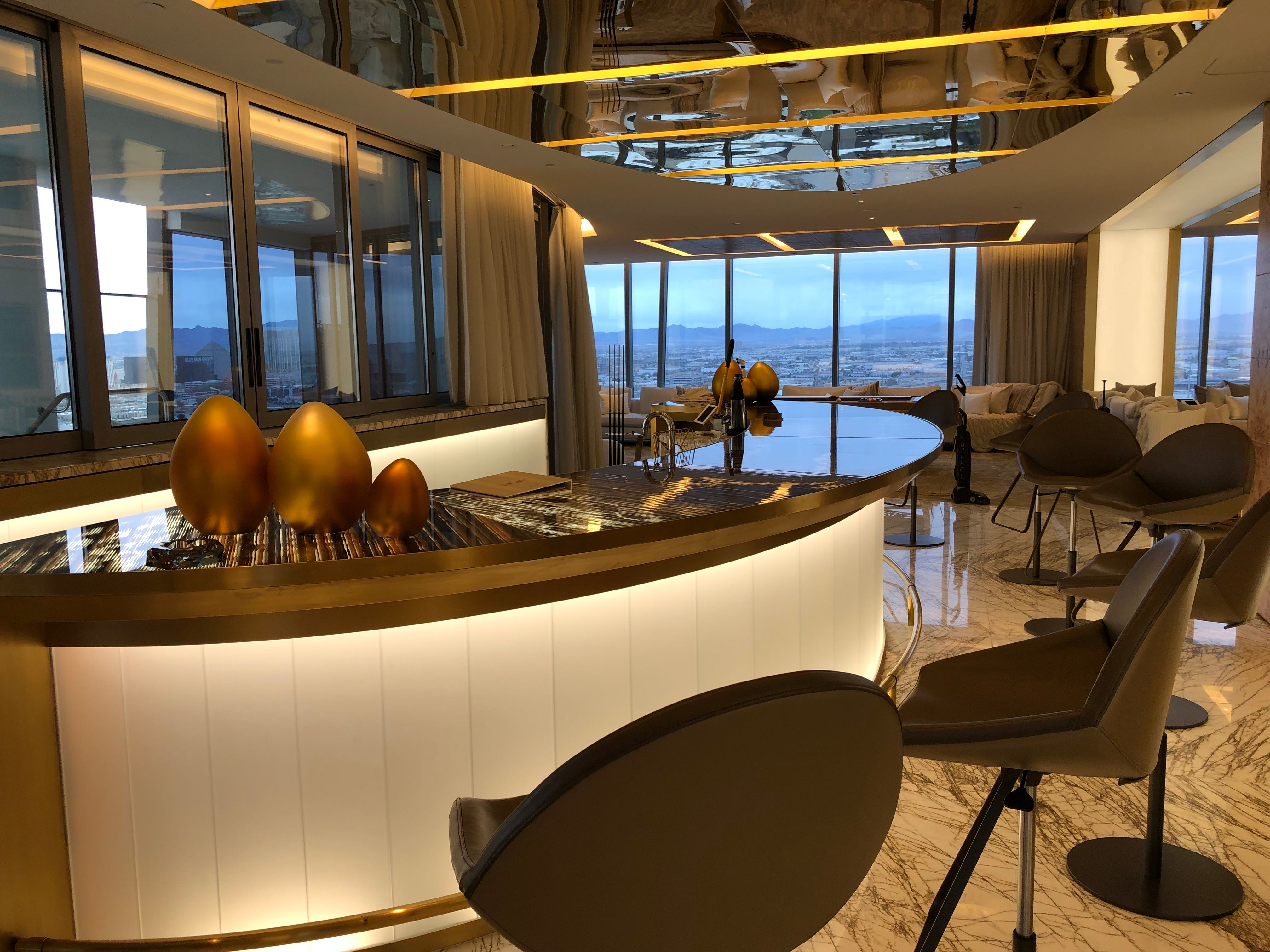 The bar in a villa suite at the Palms Casino Resort in Las Vegas.
