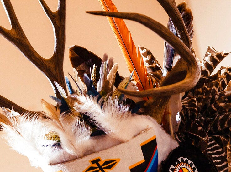 A deer headdress is seen at the Zuni Festival of Arts and Culture in Flagstaff. The antlers did not come from a state wildlife repository, but the photo shows how Native Americans use animal parts for religious and cultural purposes. Arizona wildlife officials are on the lookout for bear, bison, badger and other carcasses for Native Americans' religious and cultural use under a unique new program that allows tribes to make requests for various animal parts.