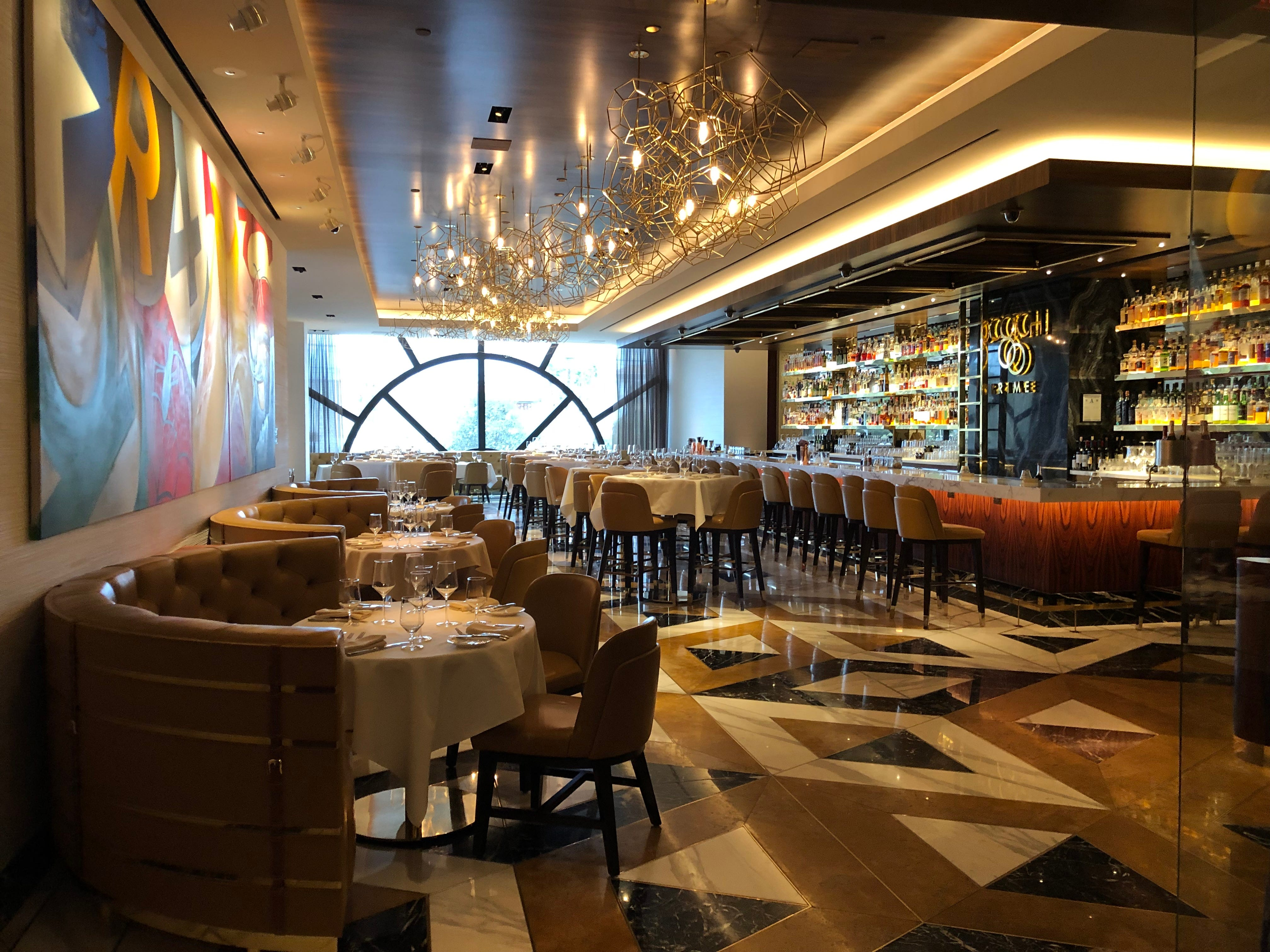 The dining room at Scotch 80 Prime steakhouse in the Palms Casino Resort in Las Vegas.