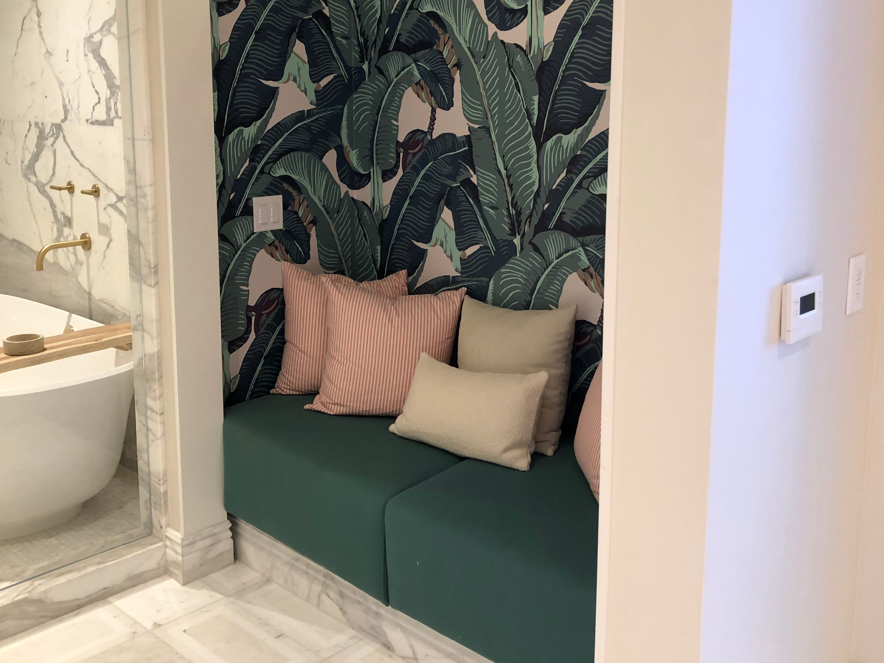 An Instagram-worthy nook in the suite designed by Revolve in the Las Vegas Palms Casino Resort.