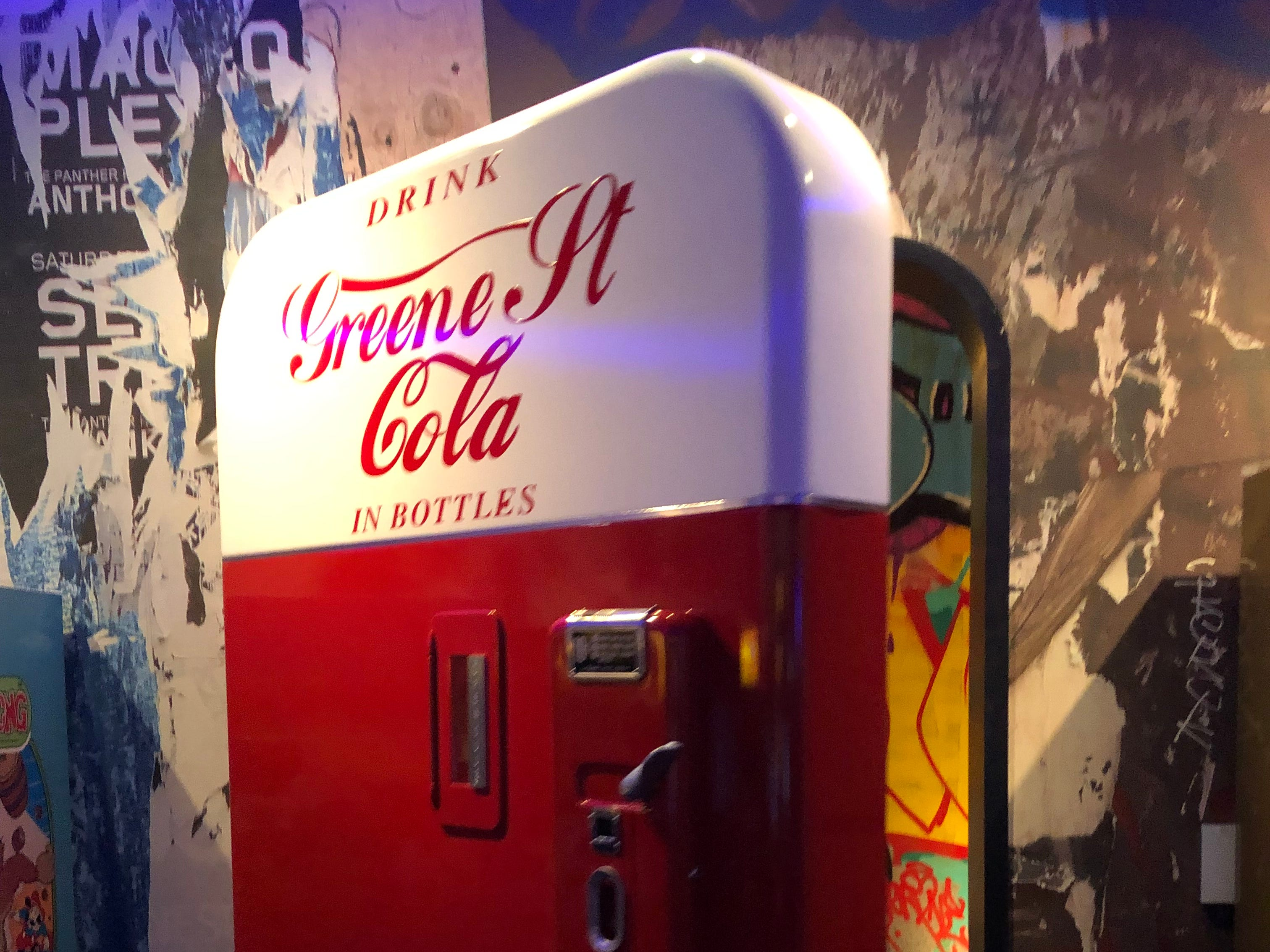 Guests enter the Greene St. Kitchen first through a vintage arcade and then through the door of an old Coca Cola machine. The restaurant is in the Palms Casino Resort in Las Vegas.