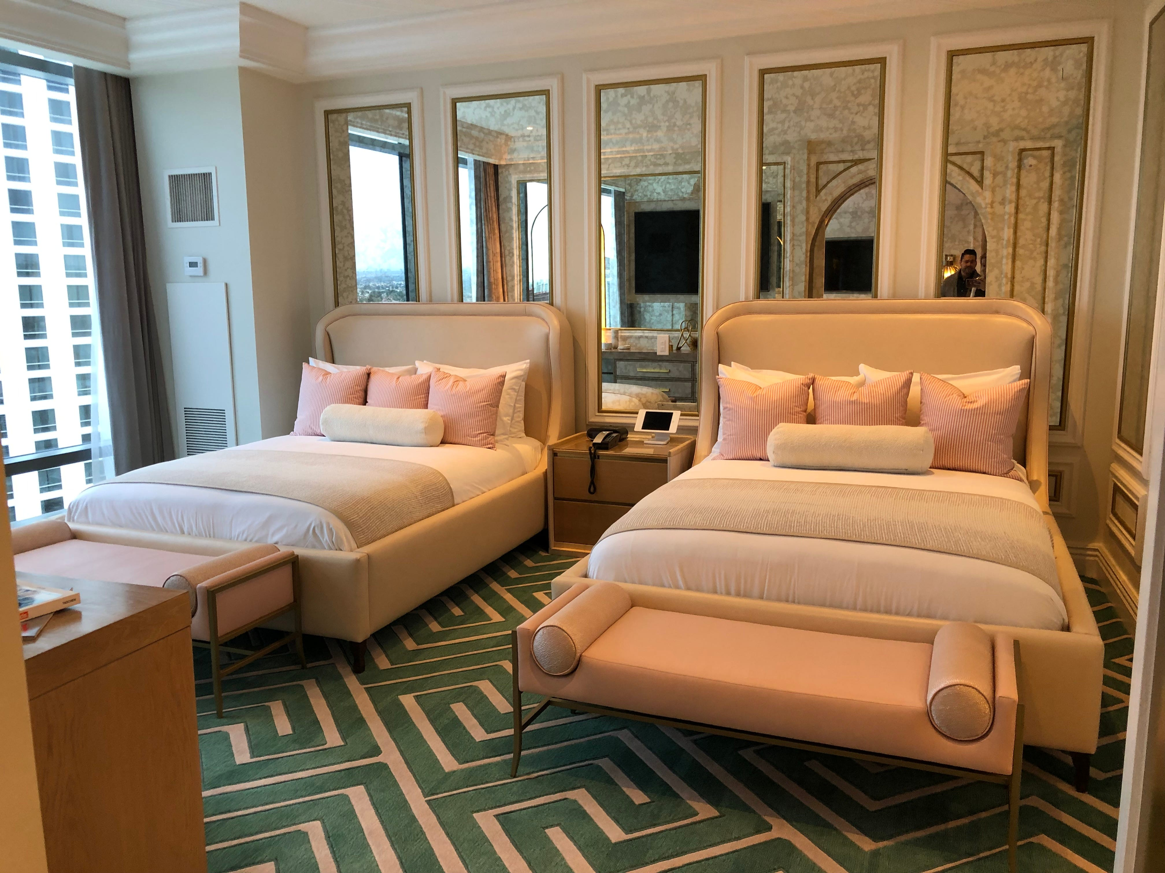 Bedroom of the suite decorated by Revolve at the Palms Casino Resort in Las Vegas.