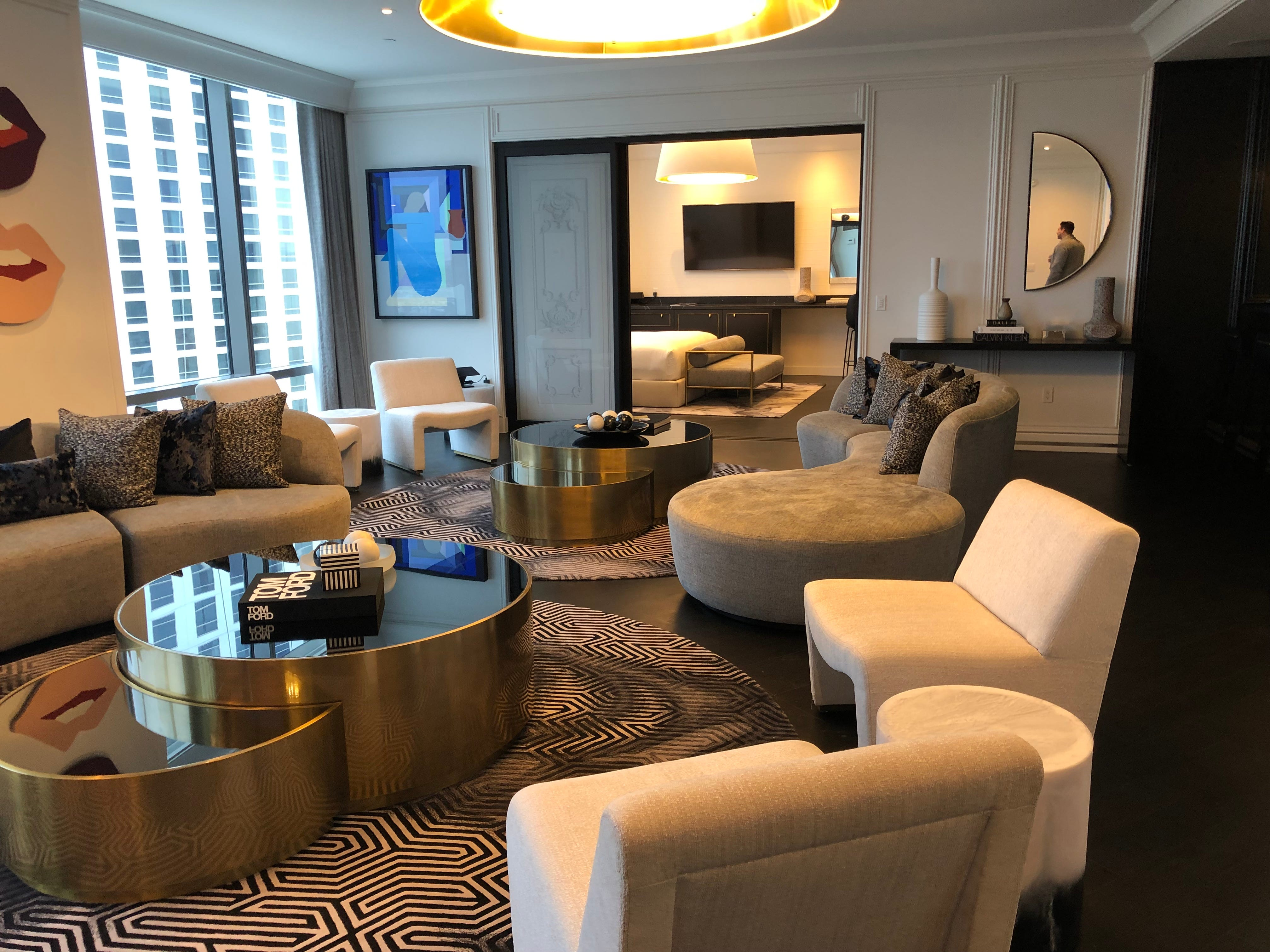 The living room of a suite at the Palms Casino Resort in Las Vegas.