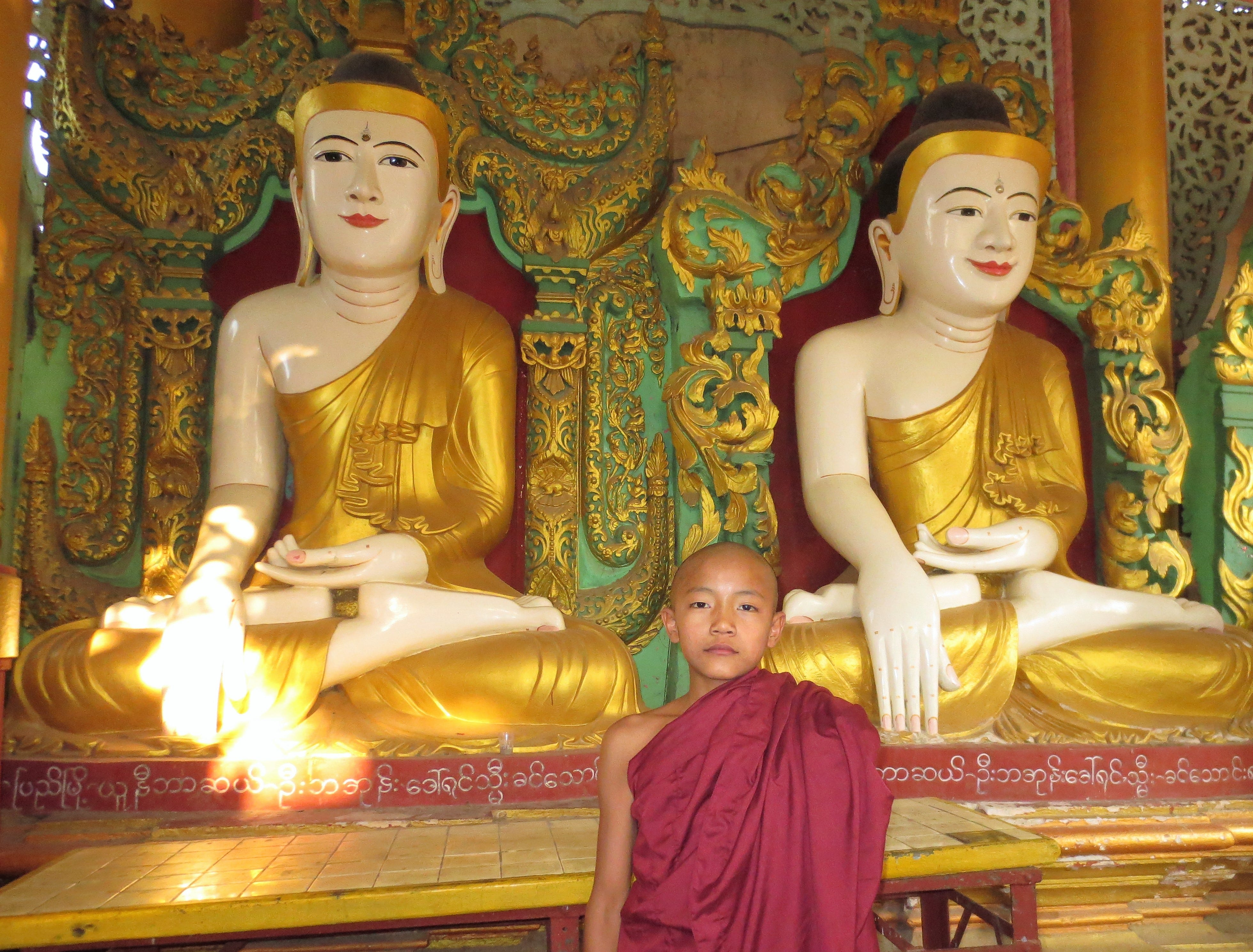 A novice monk at the Shwesandaw Pagoda complex in Pyay, Myanmar.