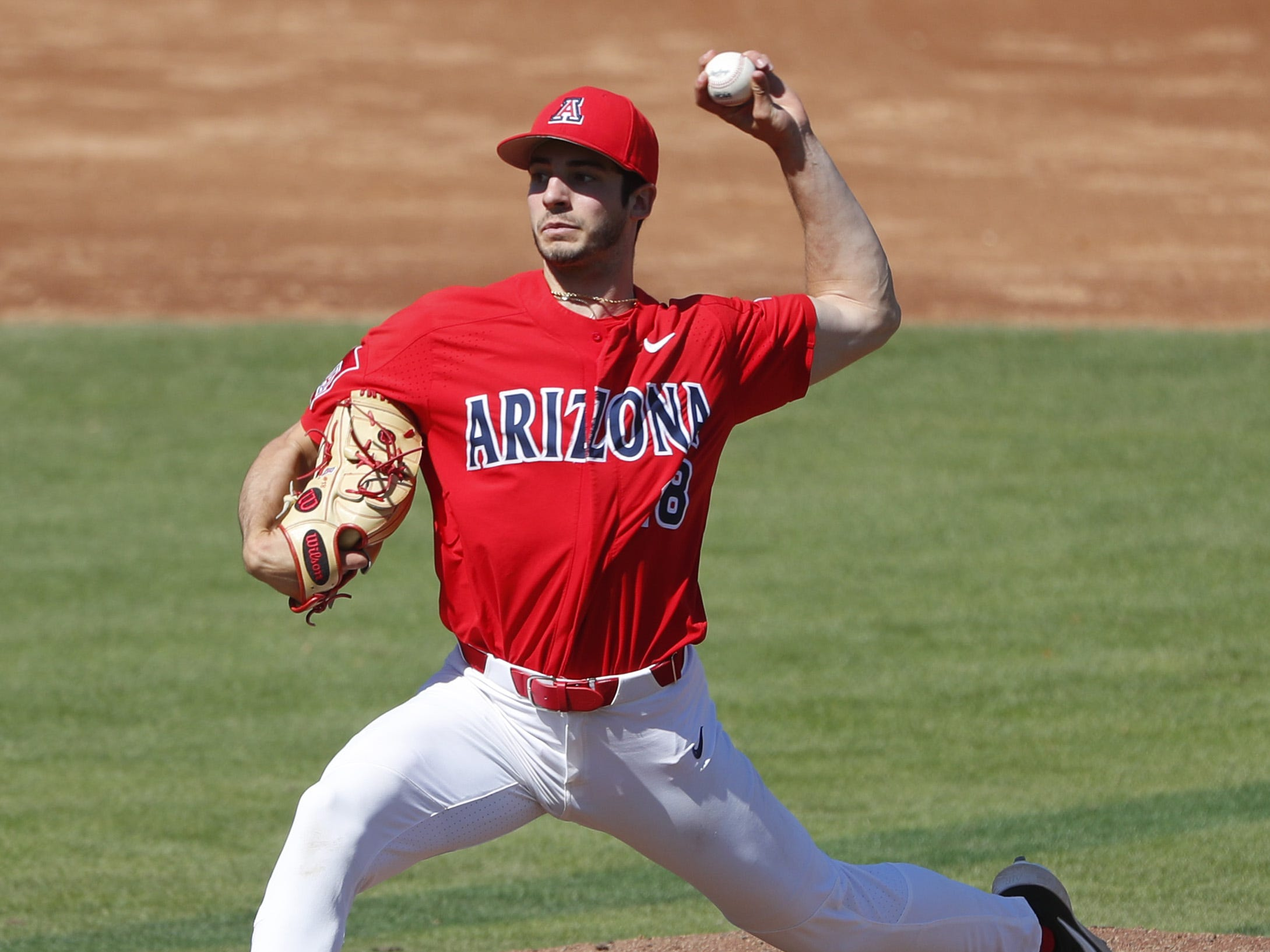 Arizona's Andrew Nardi (18) pitches against ASU during a game at Phoenix Municipal Stadium in Phoenix, Ariz. on March 30, 2019.