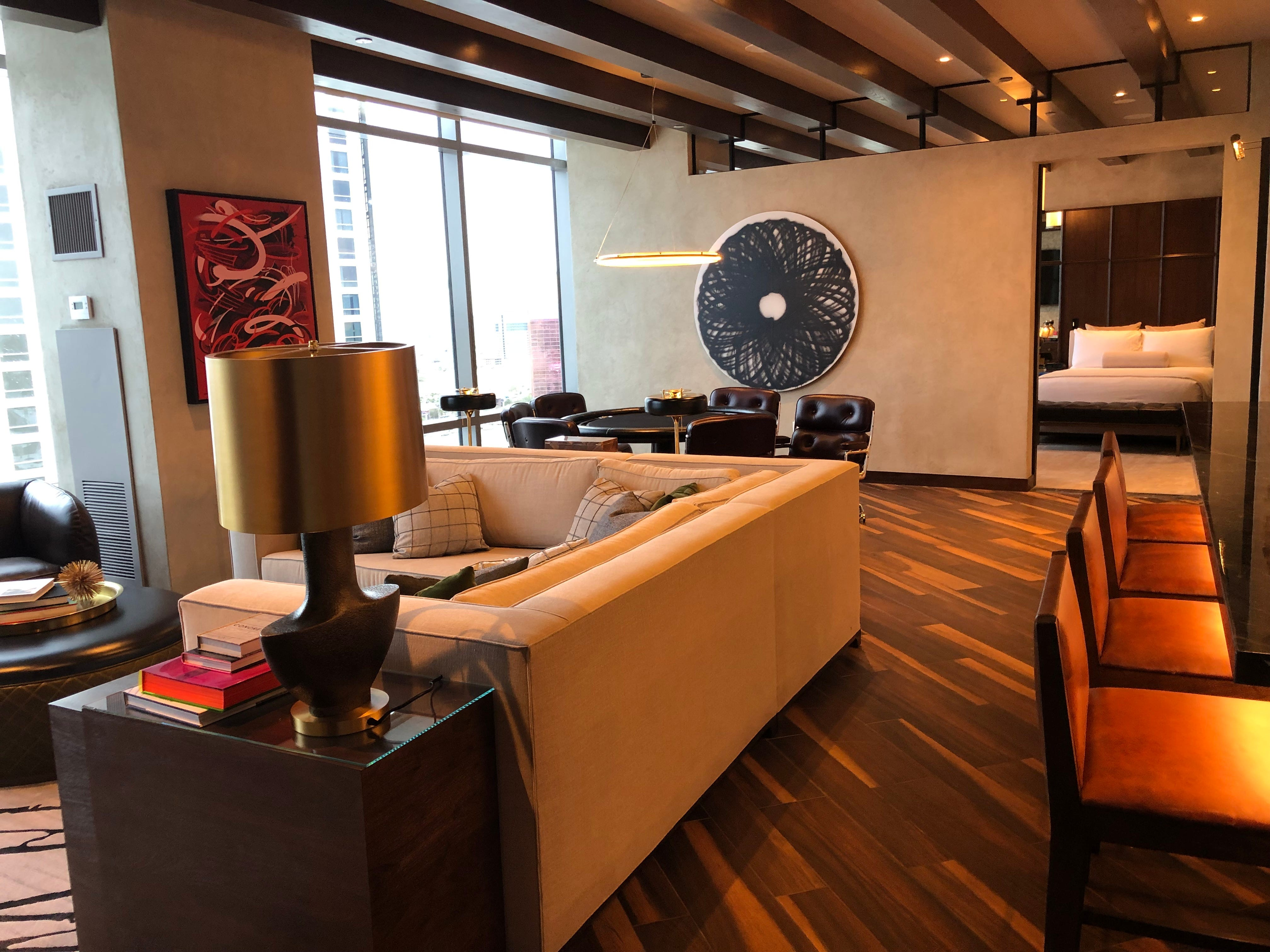 Suite in the Palms Casino Resort in Las Vegas. It has two bedrooms and is designed to accommodate groups.