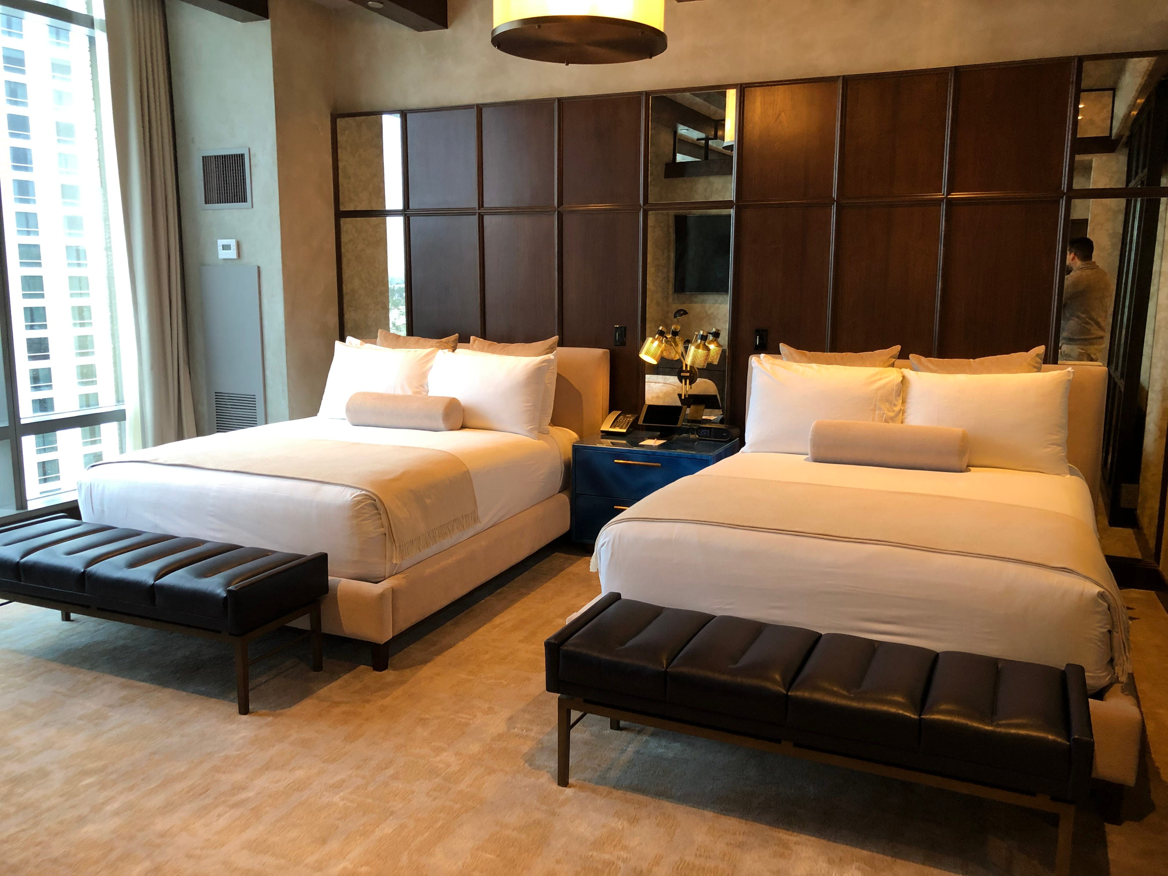Bedroom in a suite at the Las Vegas Palms Casino Resort. The resort has several suites designed for groups.