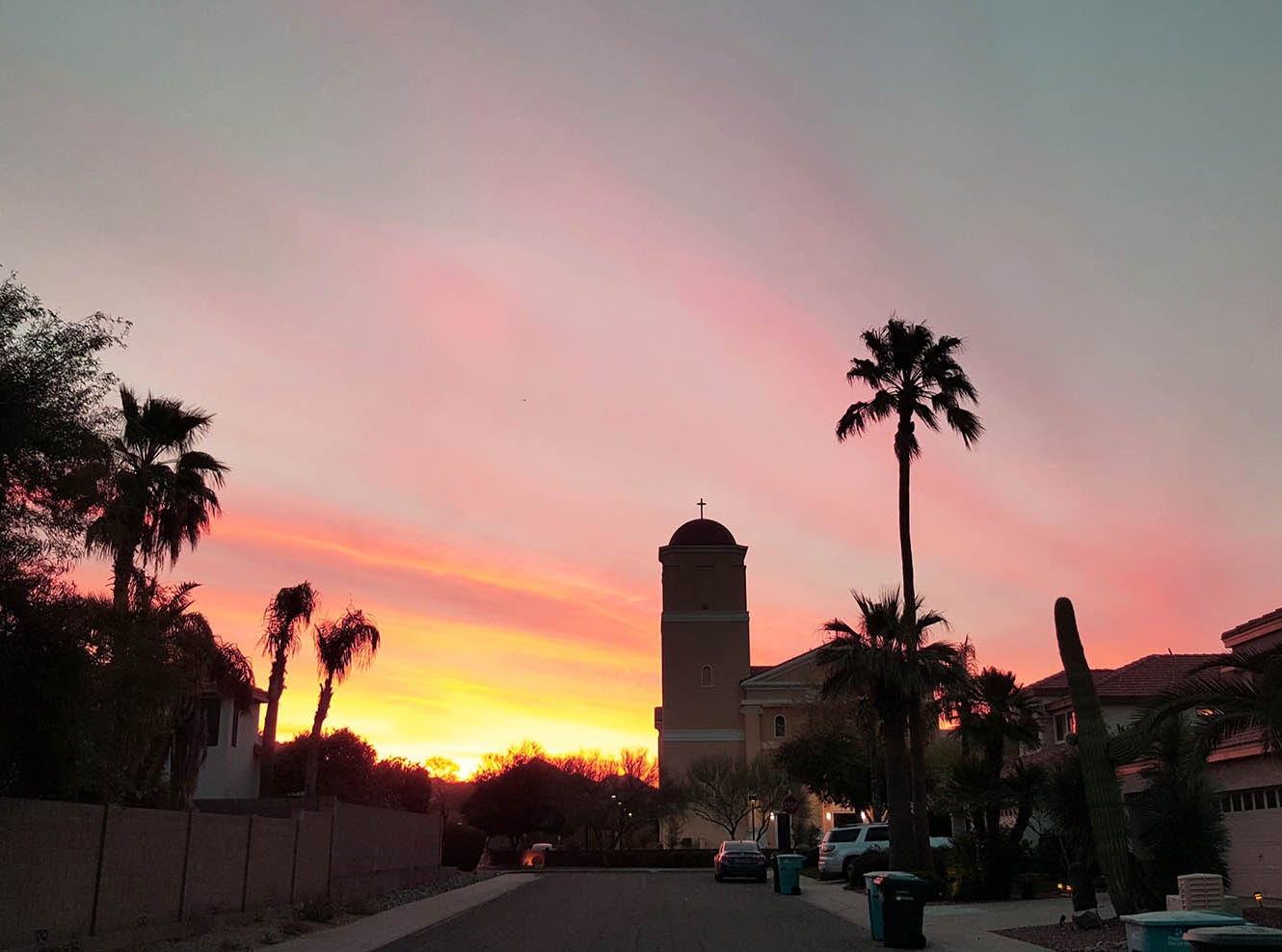 Sunrise over St. Bernadette's Church in Scottsdale.