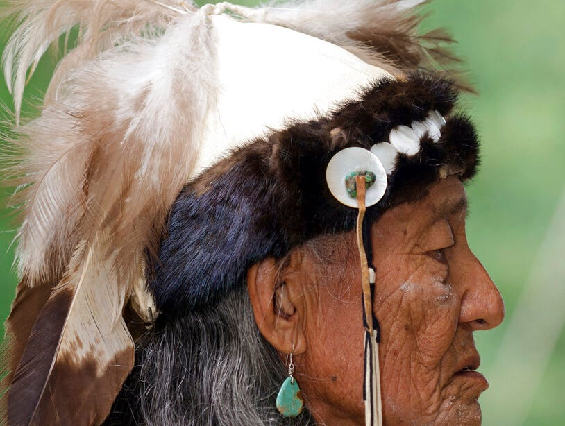 Jones Benally wears a fur-lined headpiece at the Navajo Festival of Arts and Culture in Flagstaff. The hide did not come from a state wildlife repository, but the photo shows how Native Americans use animal parts for religious and cultural purposes. Arizona wildlife officials are on the lookout for bear, bison, badger and other carcasses for Native Americans' religious and cultural use under a unique new program that allows tribes to make requests for various animal parts.