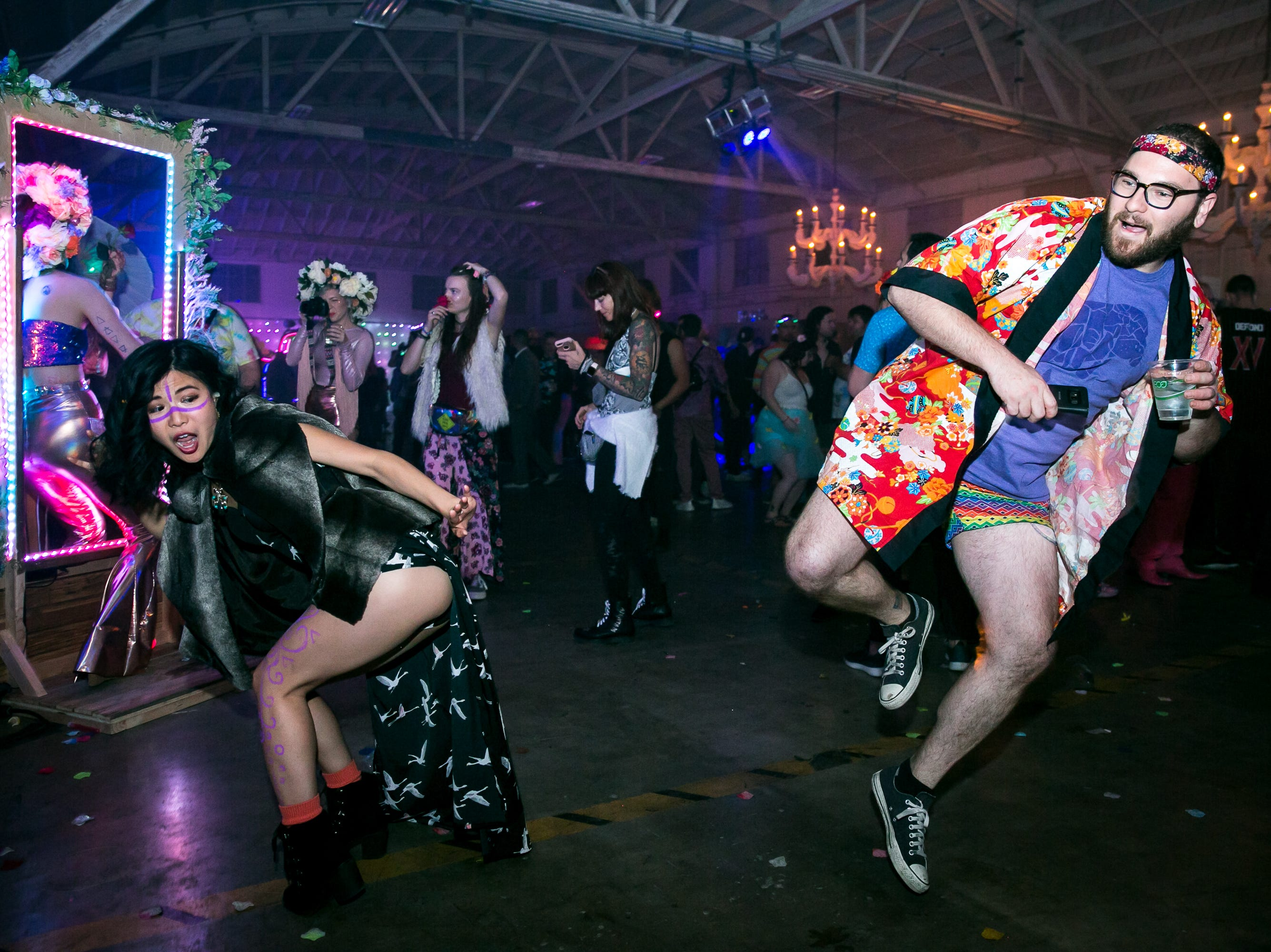 An impromptu dance battle erupted during Bloom at The Where?House Gallery on March 30, 2019.