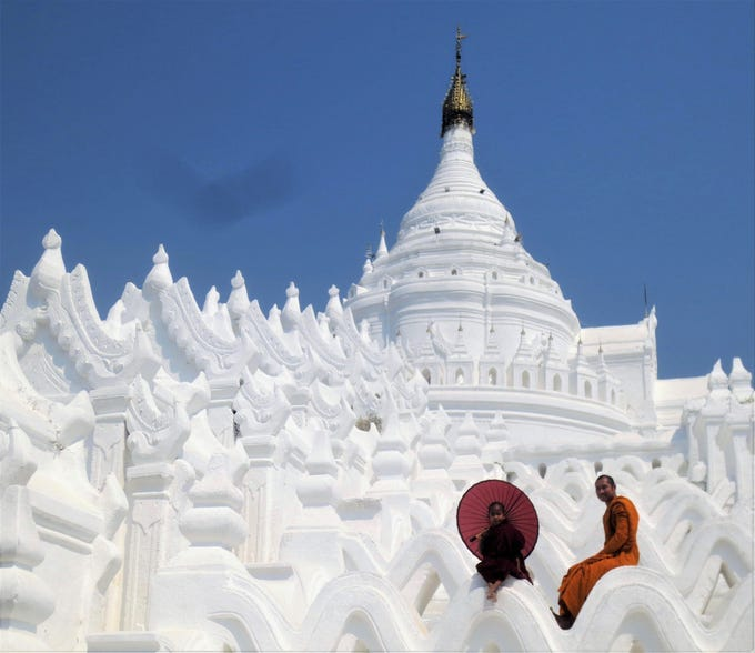 The stunning, all-white Hsinbyume Pagoda in Mingun, Myanmar, built in 1816.