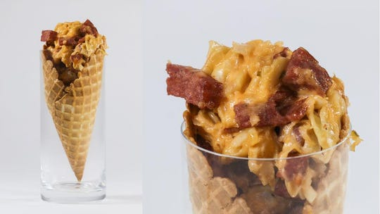 If you're a true yinzer, the Pittsburgh cone might be just the thing for you. This treat is pretty much every food the Steel City is known for: kielbasa, pieorogi, Swiss cheese, sauerkraut and Russian dressing, all served in a waffle cone as if it were an ice cream.