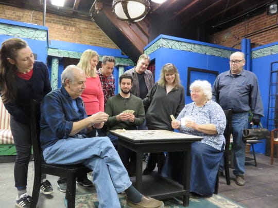 """Coach House Players's production of """"Murder on the Nile"""" includes  Peter Pius, seated, left to right, and Marshall Sheldon. Standing, left to right, are Pearl Johnson, Beatrice Ann-Amato, Patricia Cohen, Lawrence Miller, Tom Muller, Julie Lichtenberg and John Johnson."""