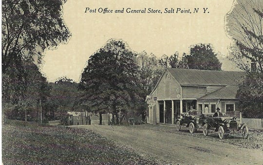 This vintage postcard depicts a general store and post office on the southwest corner of Salt Point Turnpike and Cottage Street in Salt Point, a hamlet in the Town of Pleasant Valley. Founded in 1825, the business still serves customers in the rural community.